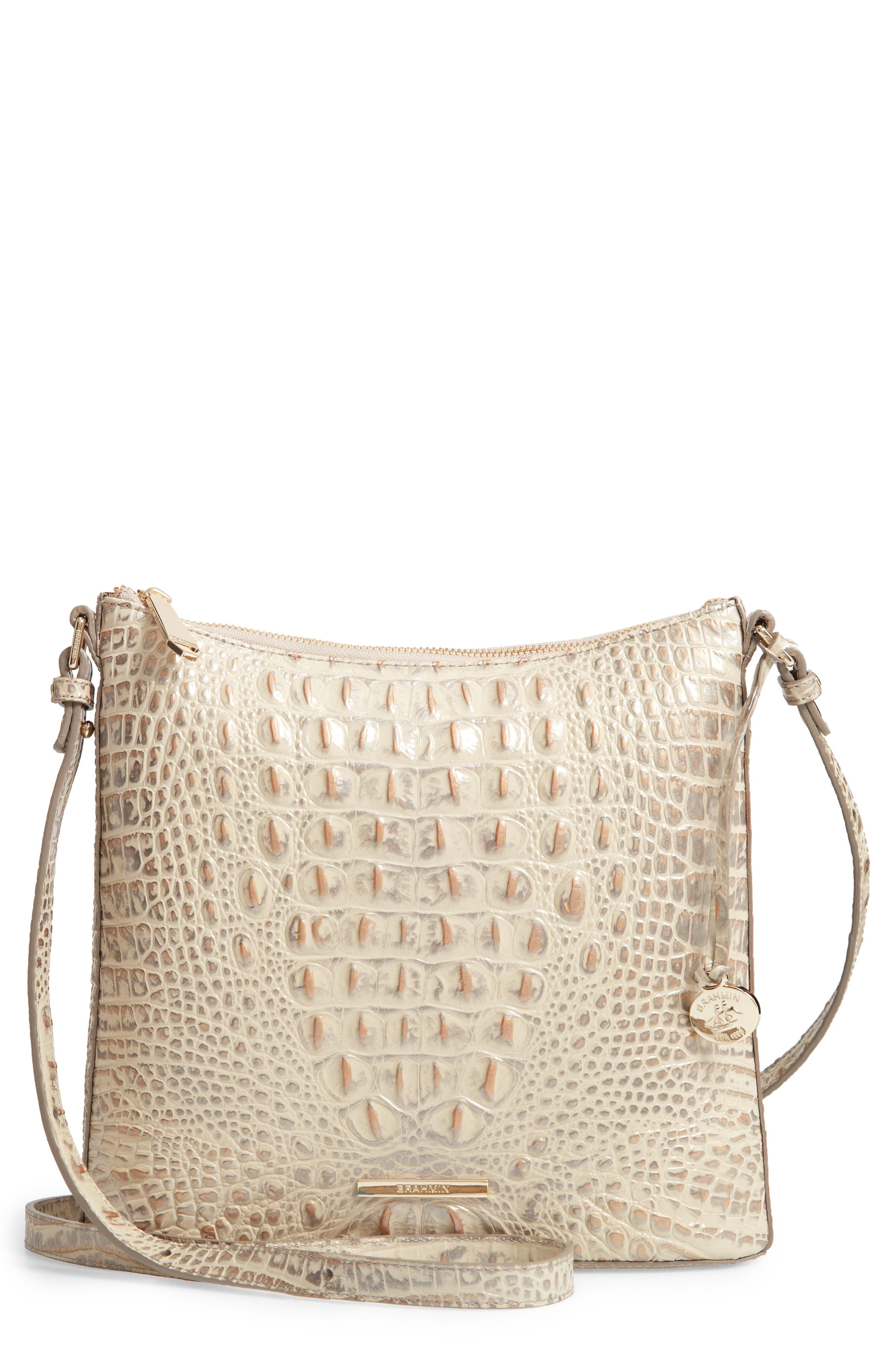 Katie Croc Embossed Leather Crossbody Bag,                         Main,                         color, SILVER BIRCH