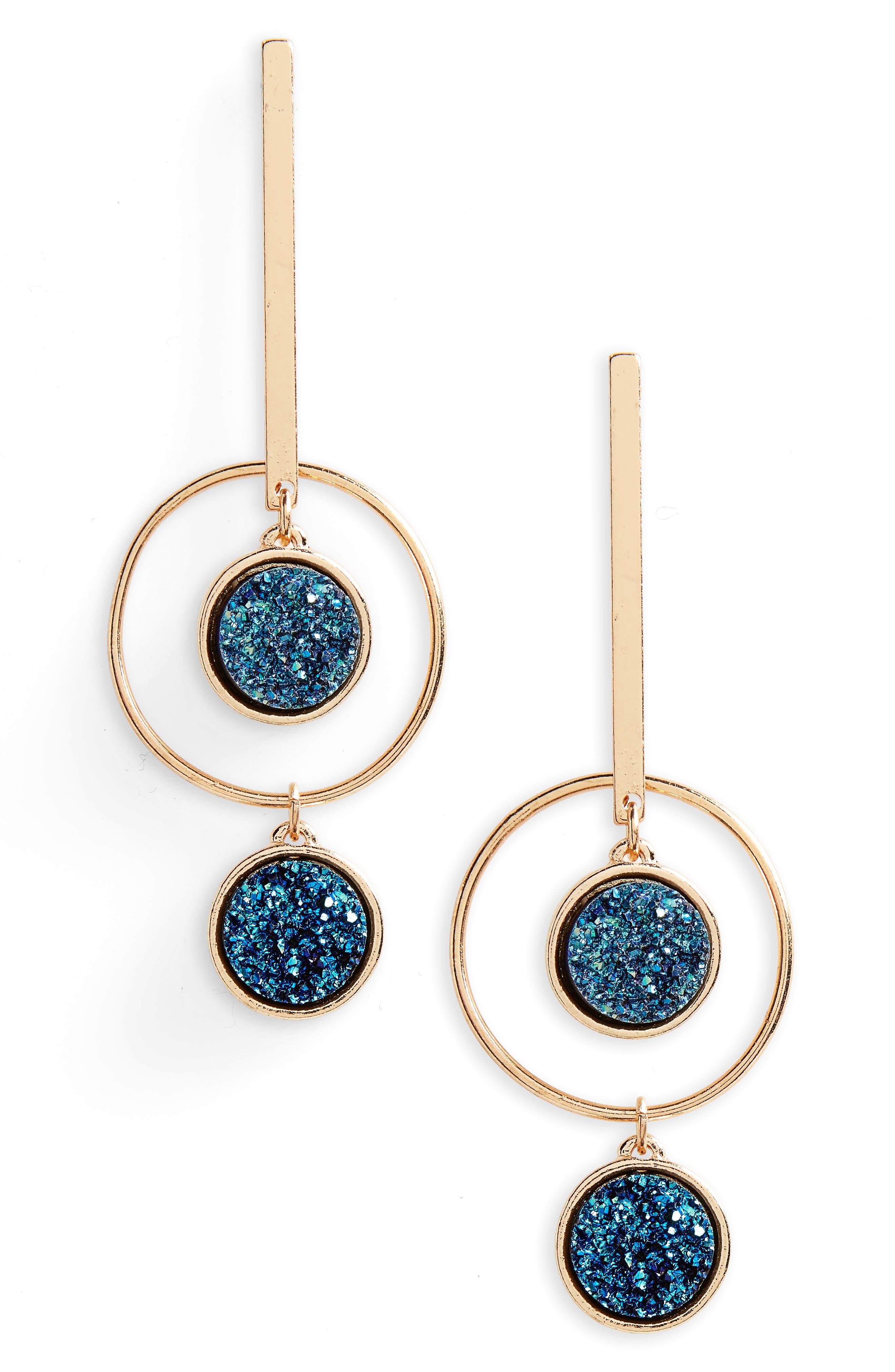 Geometric Drop Earrings,                             Main thumbnail 1, color,                             001