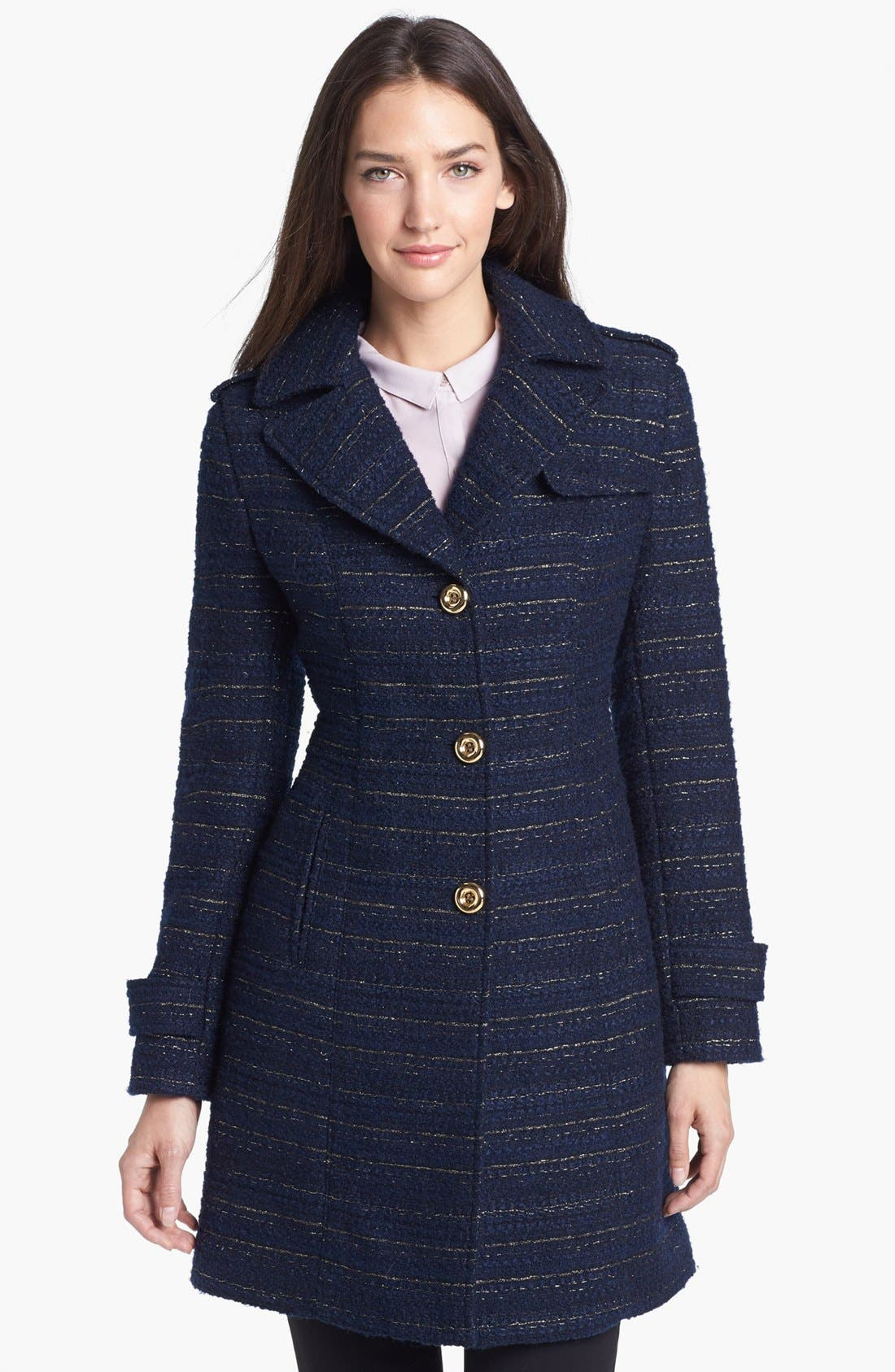 Metallic Tweed Walking Coat,                             Main thumbnail 2, color,