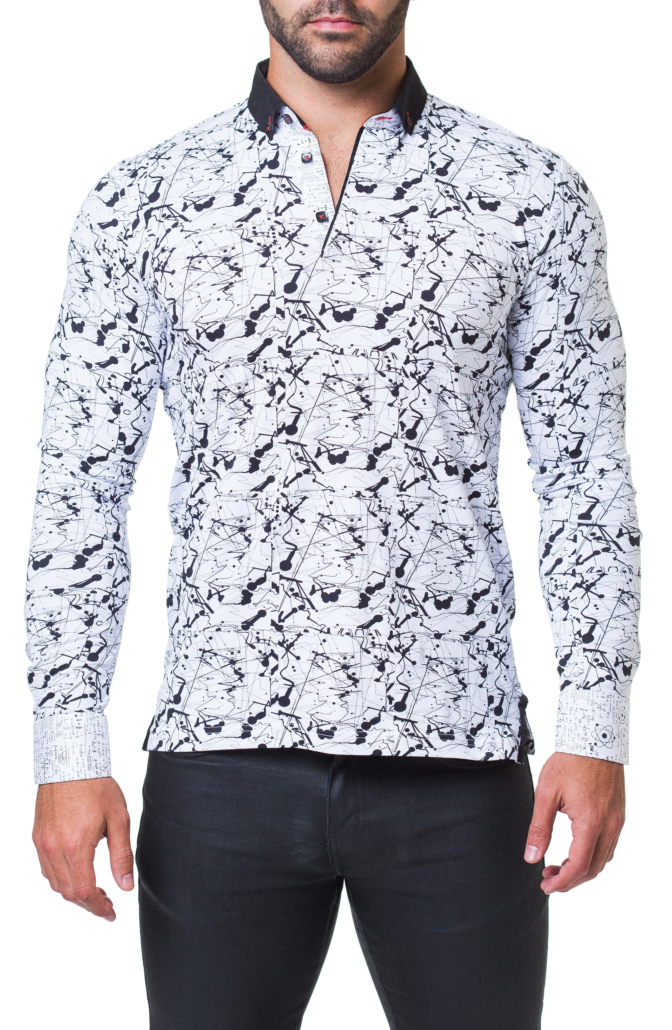 Newton Haring Trim Fit Print Long Sleeve Polo,                         Main,                         color, WHITE