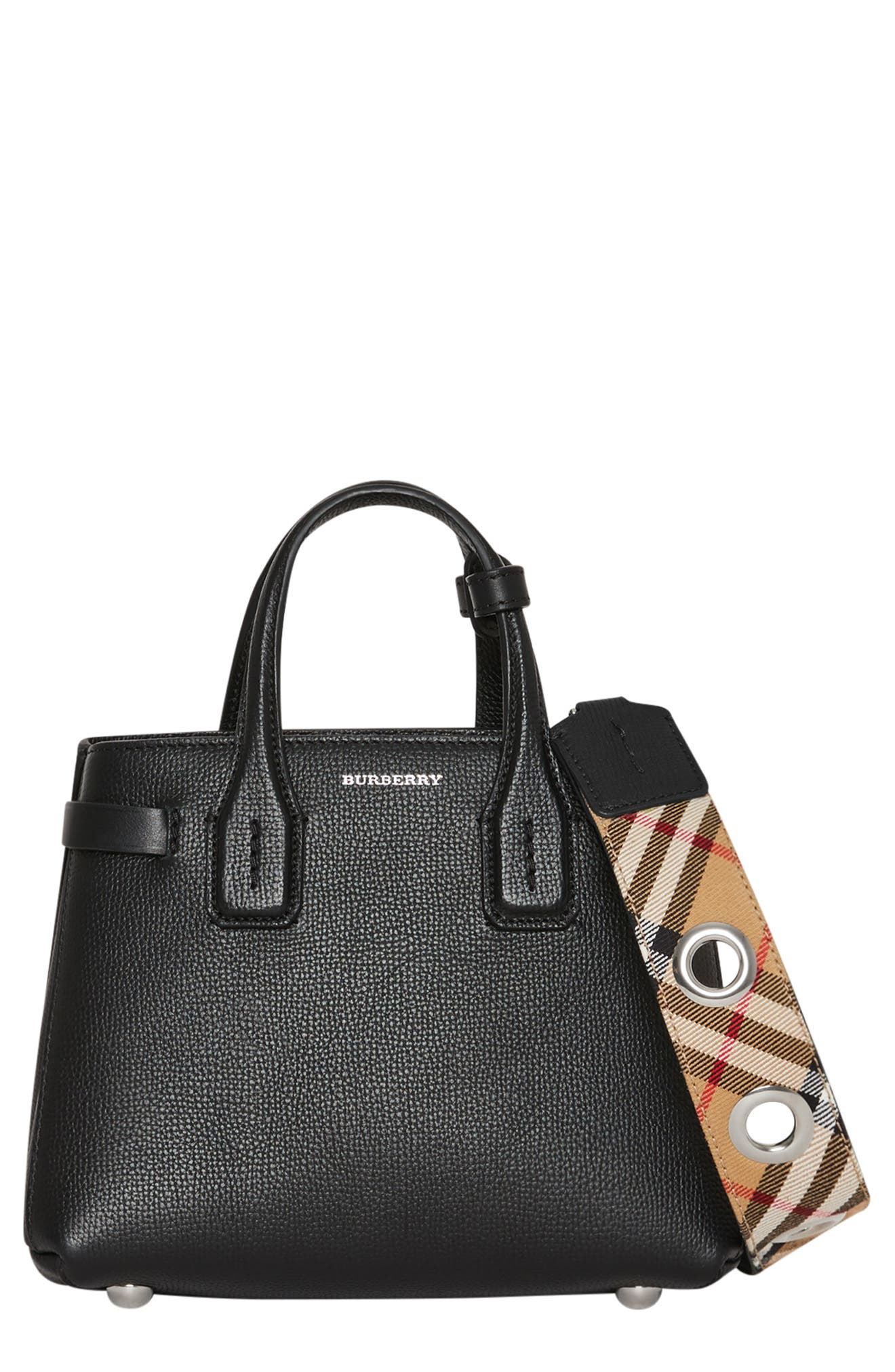 BURBERRY,                             Baby Banner Leather Satchel,                             Main thumbnail 1, color,                             BLACK