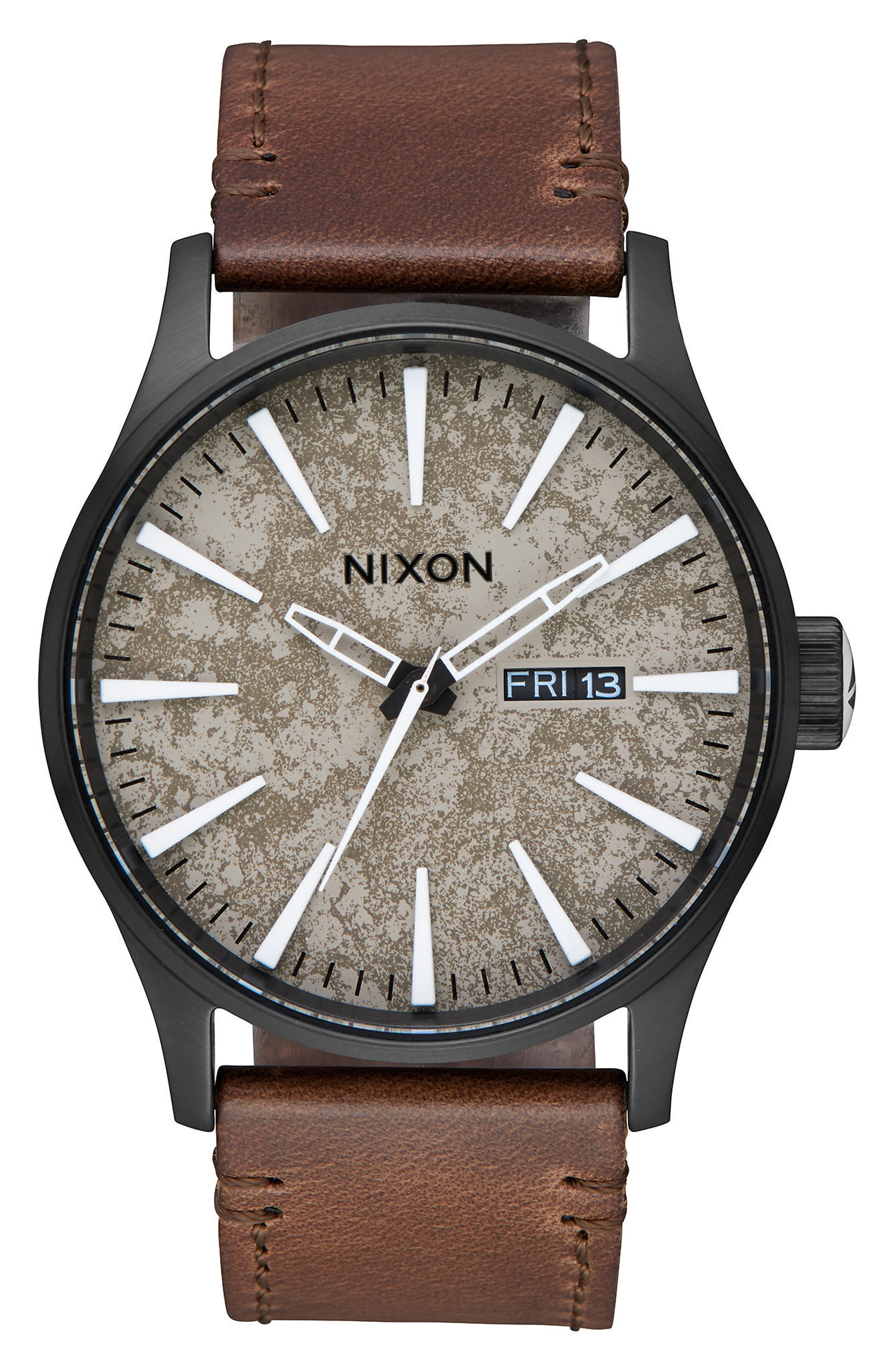The Sentry Leather Strap Watch, 42mm,                             Alternate thumbnail 38, color,