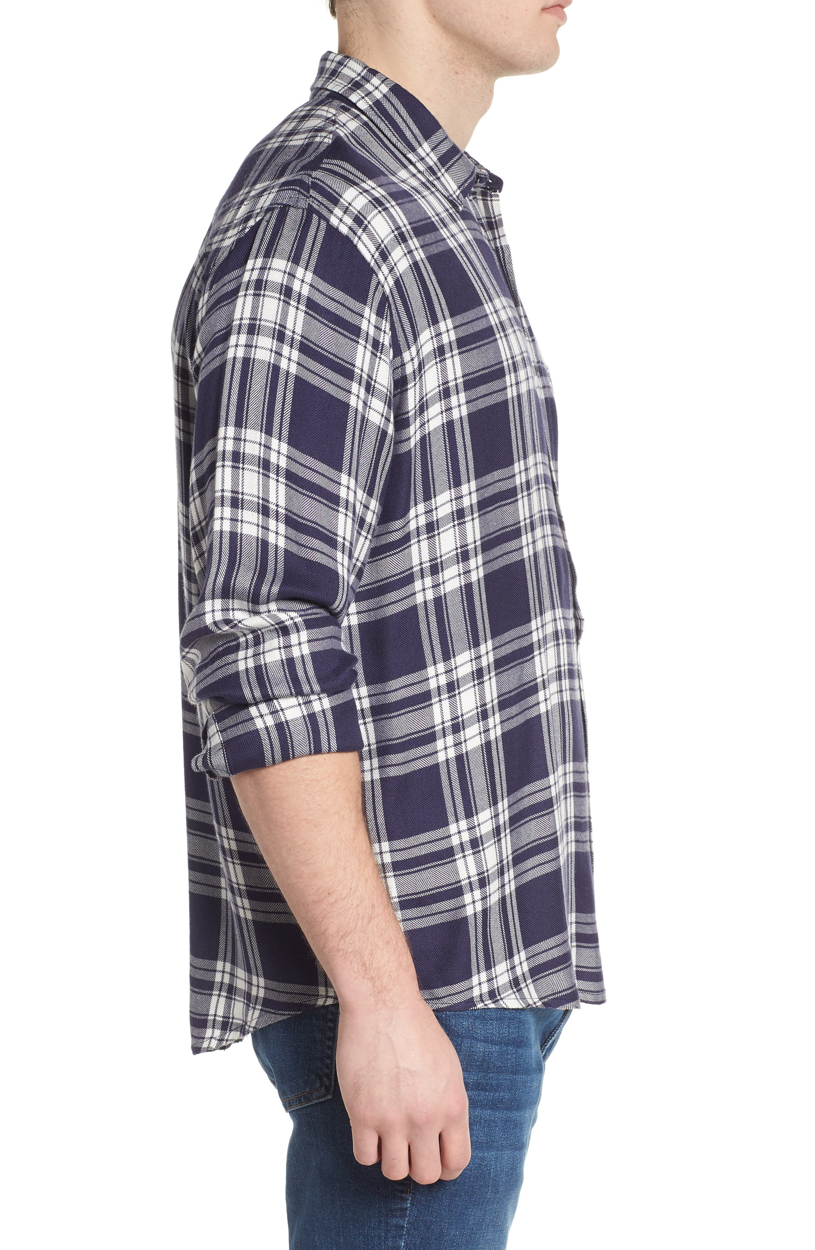 Lennox Slim Fit Plaid Sport Shirt,                             Alternate thumbnail 3, color,                             100