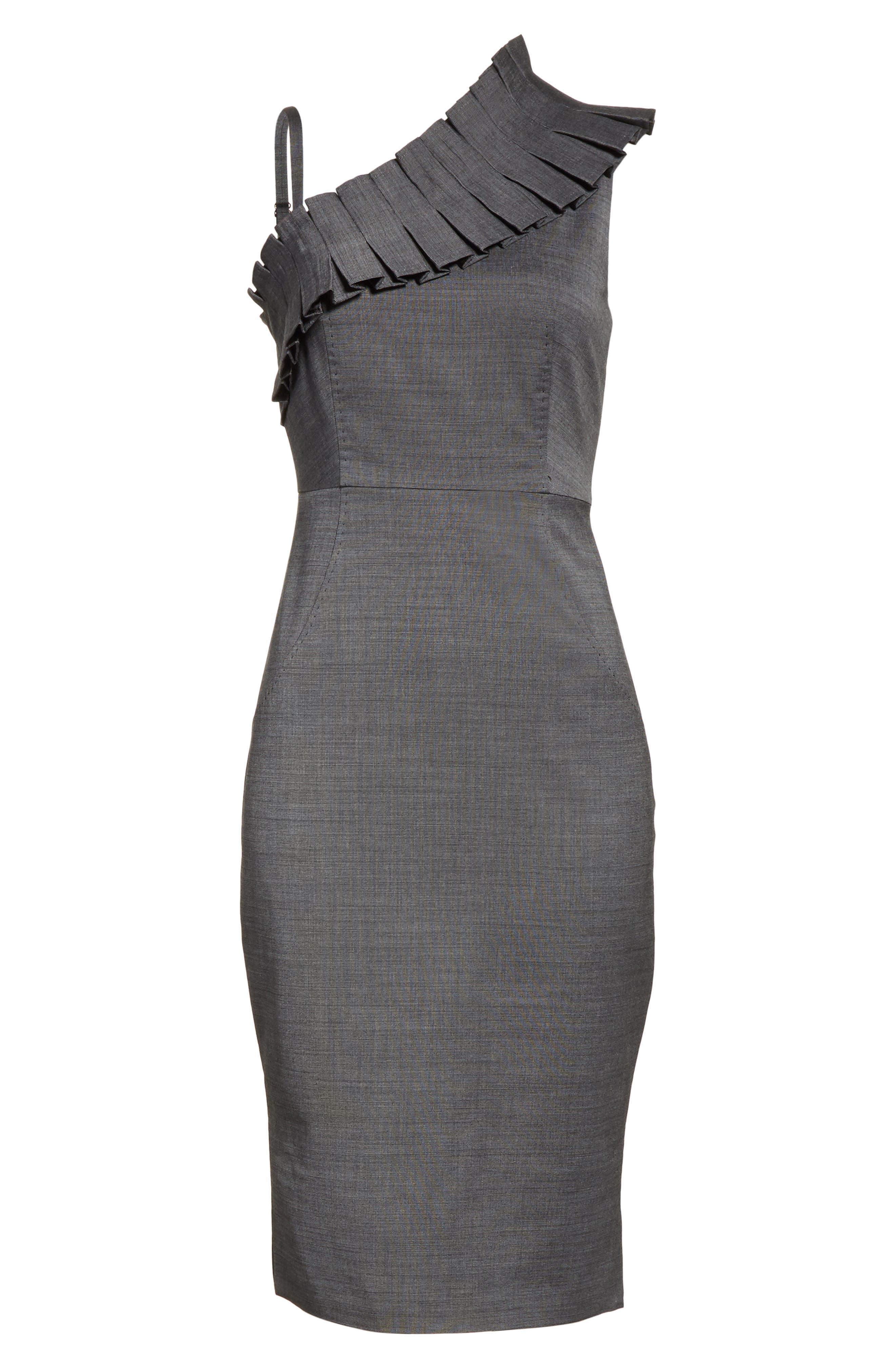 One-Shoulder Sheath Dress,                             Alternate thumbnail 6, color,                             030