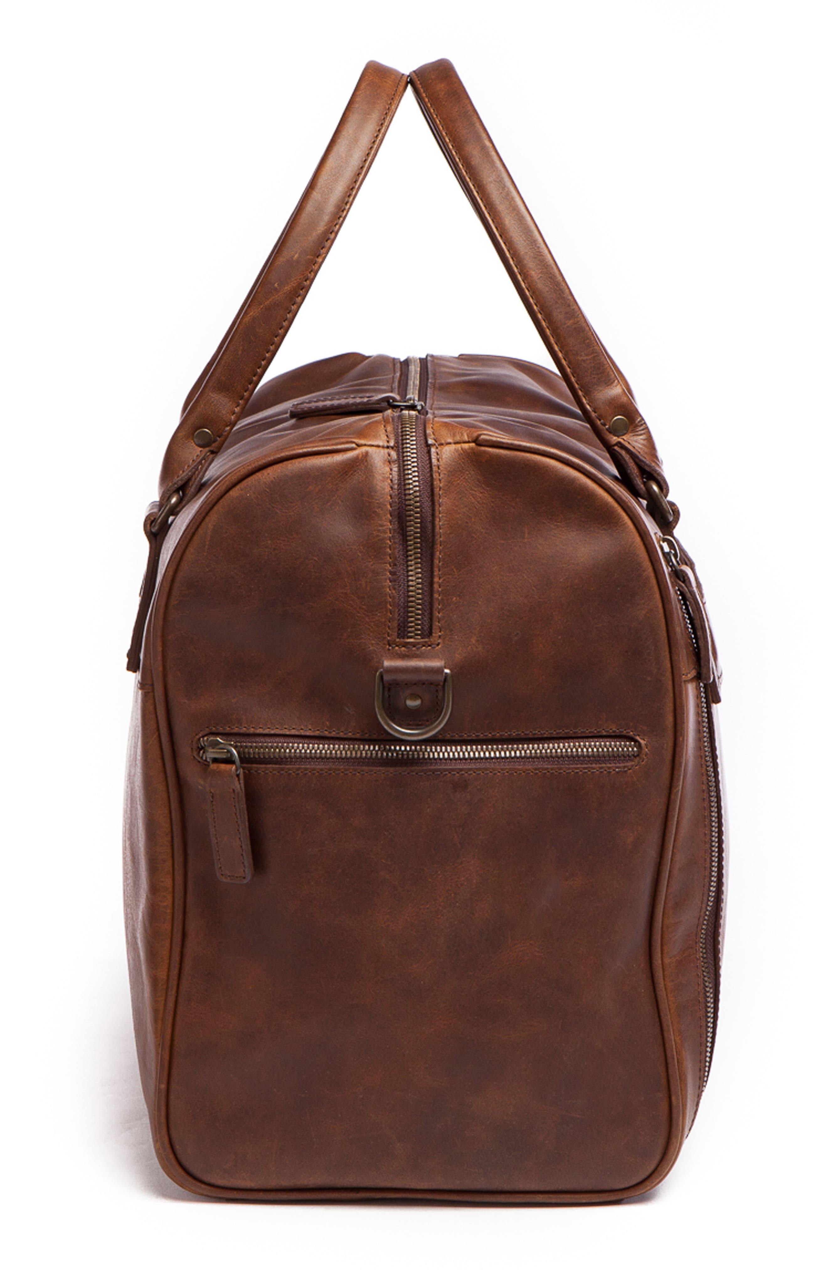 Booker Leather Duffel Bag,                             Alternate thumbnail 5, color,                             BALDWIN OAK