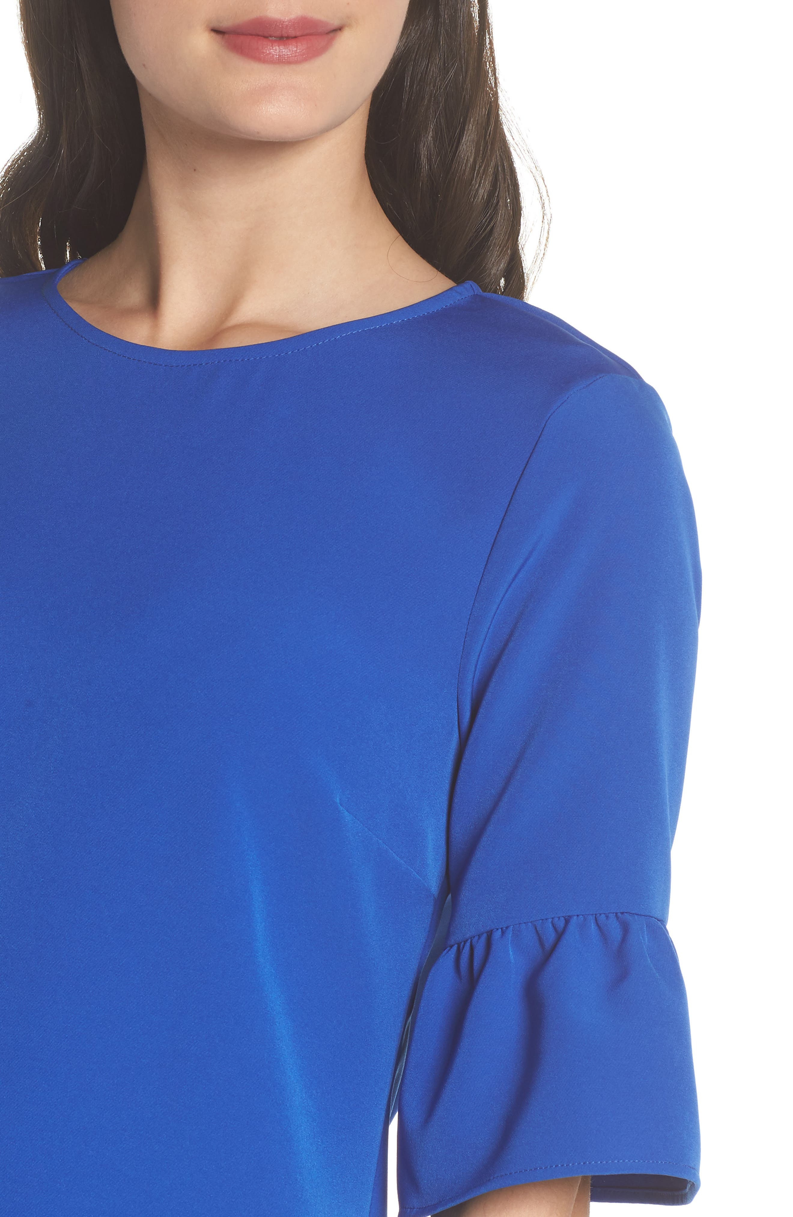 Bell Sleeve Shift Dress,                             Alternate thumbnail 4, color,                             PATRIOT BLUE