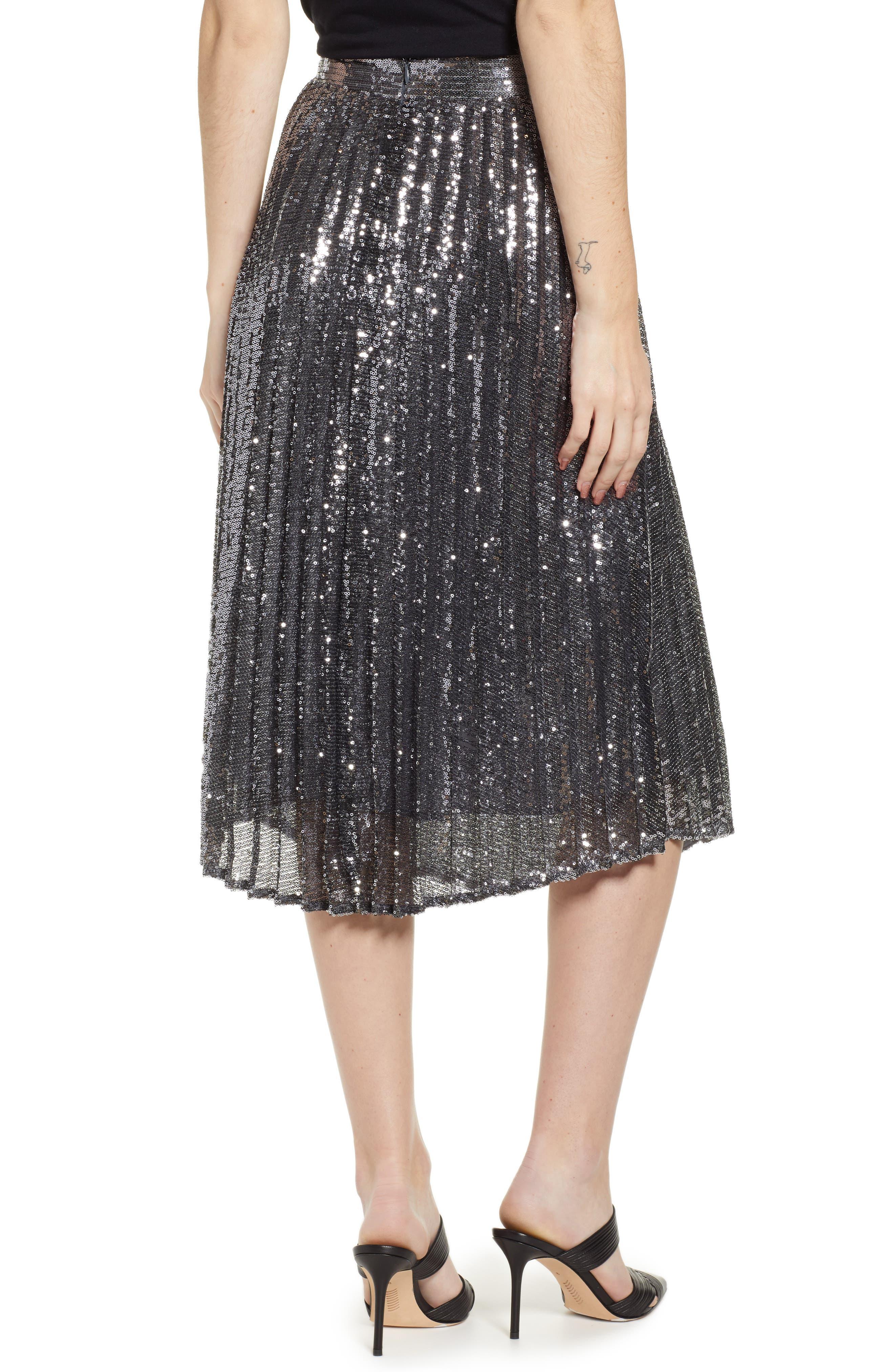 CHELSEA28,                             Sequin Skirt,                             Alternate thumbnail 2, color,                             SILVER