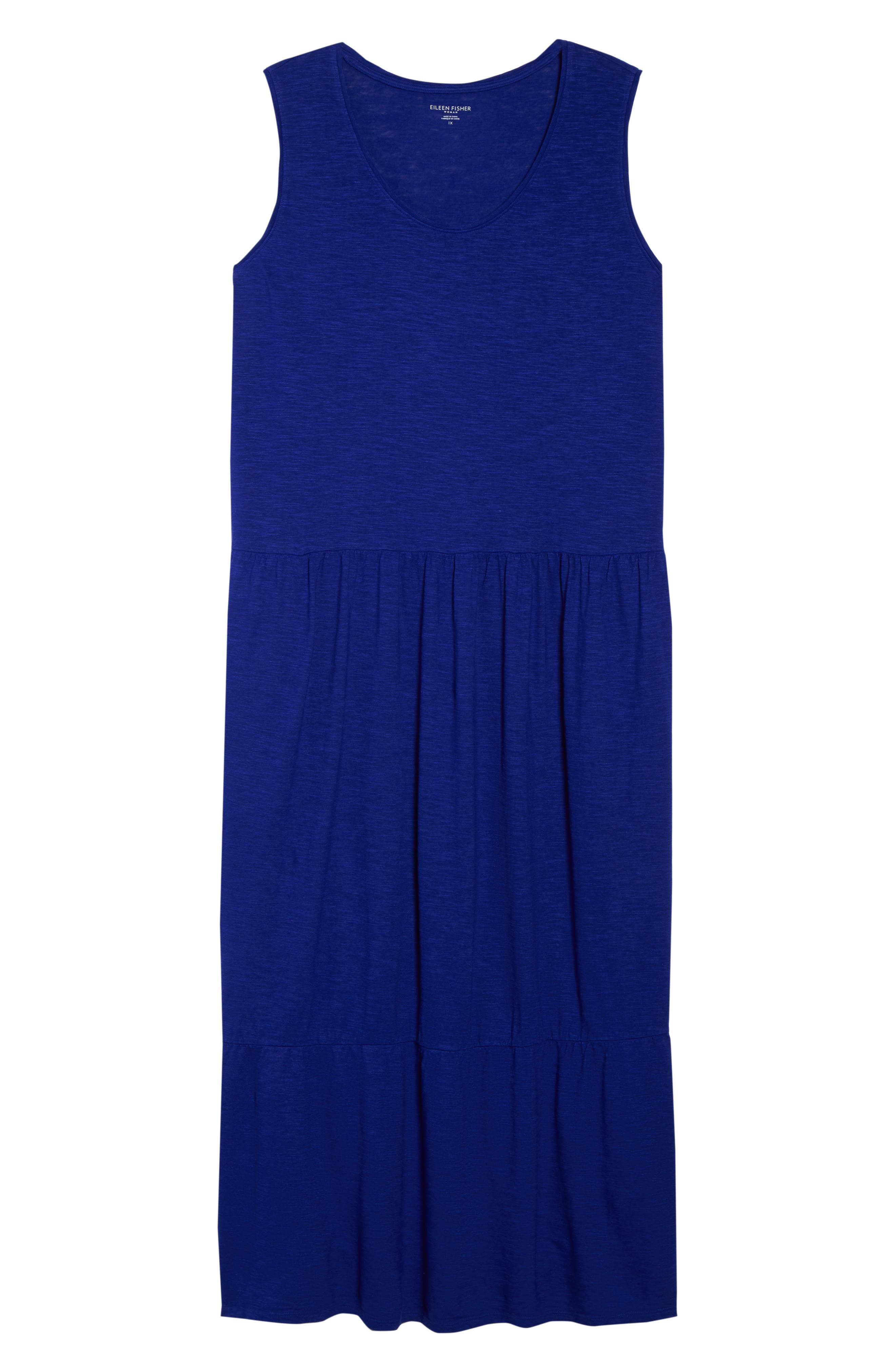Scooped Neck Hemp & Cotton Midi Dress,                             Alternate thumbnail 7, color,                             BLUE VIOLET