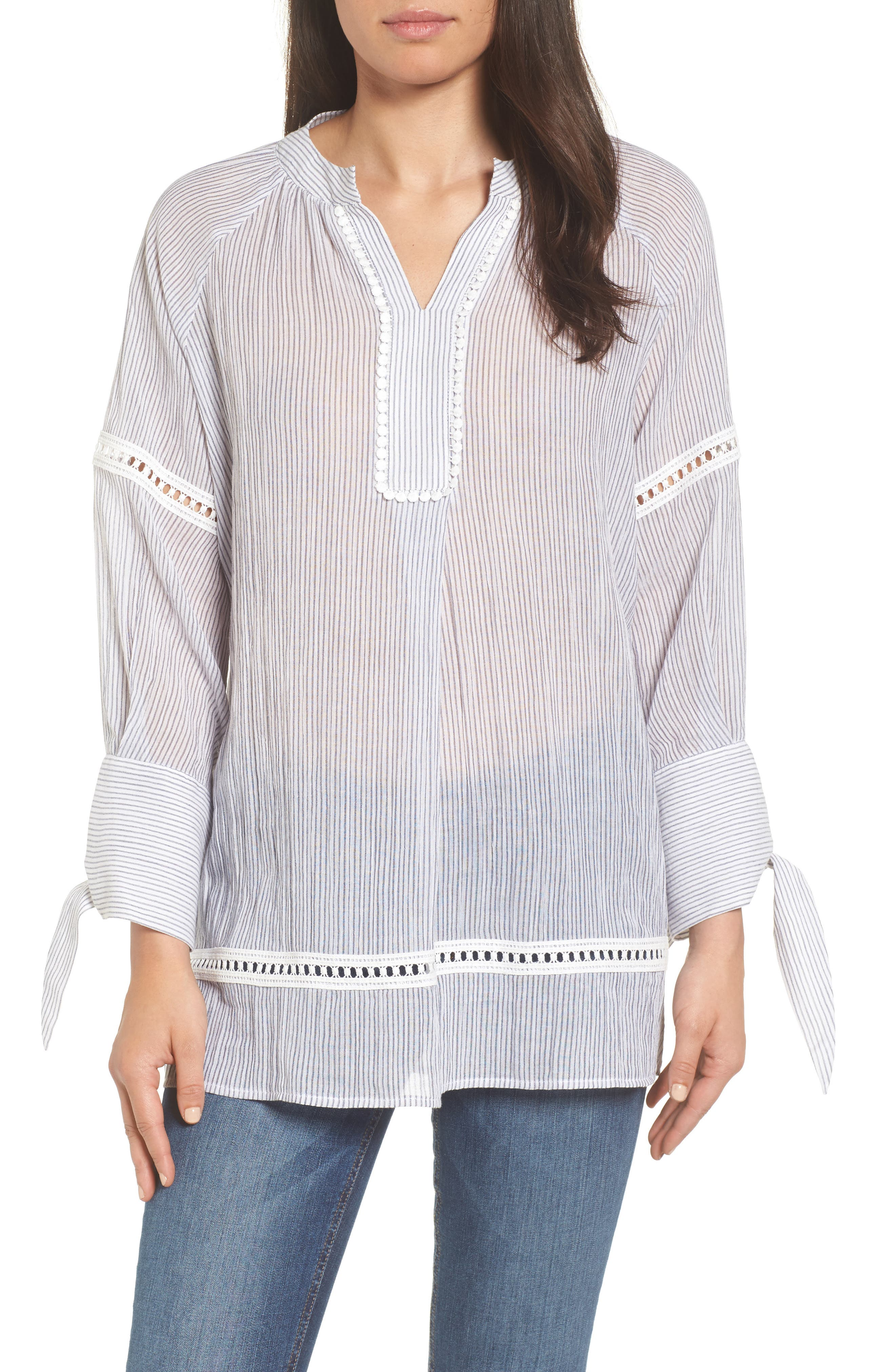 Tie Sleeve Woven Tunic,                             Main thumbnail 1, color,                             410