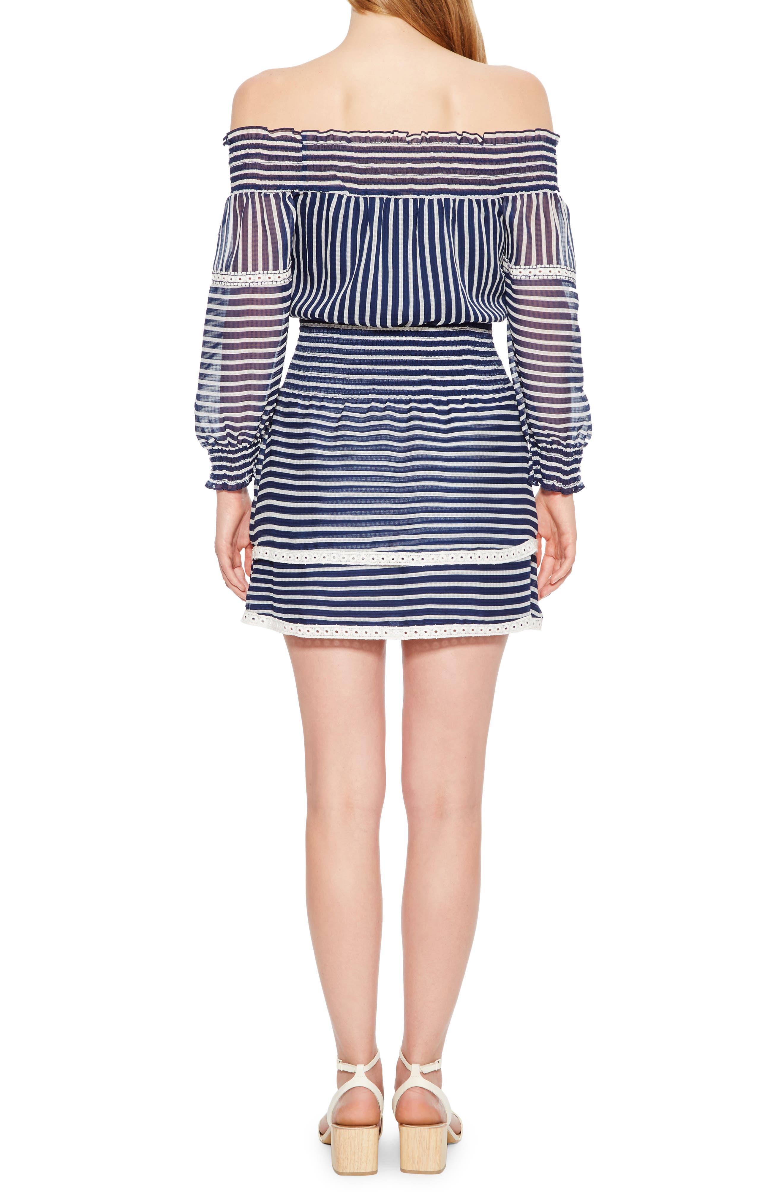Carah Stripe Off the Shoulder Dress,                             Alternate thumbnail 2, color,                             496