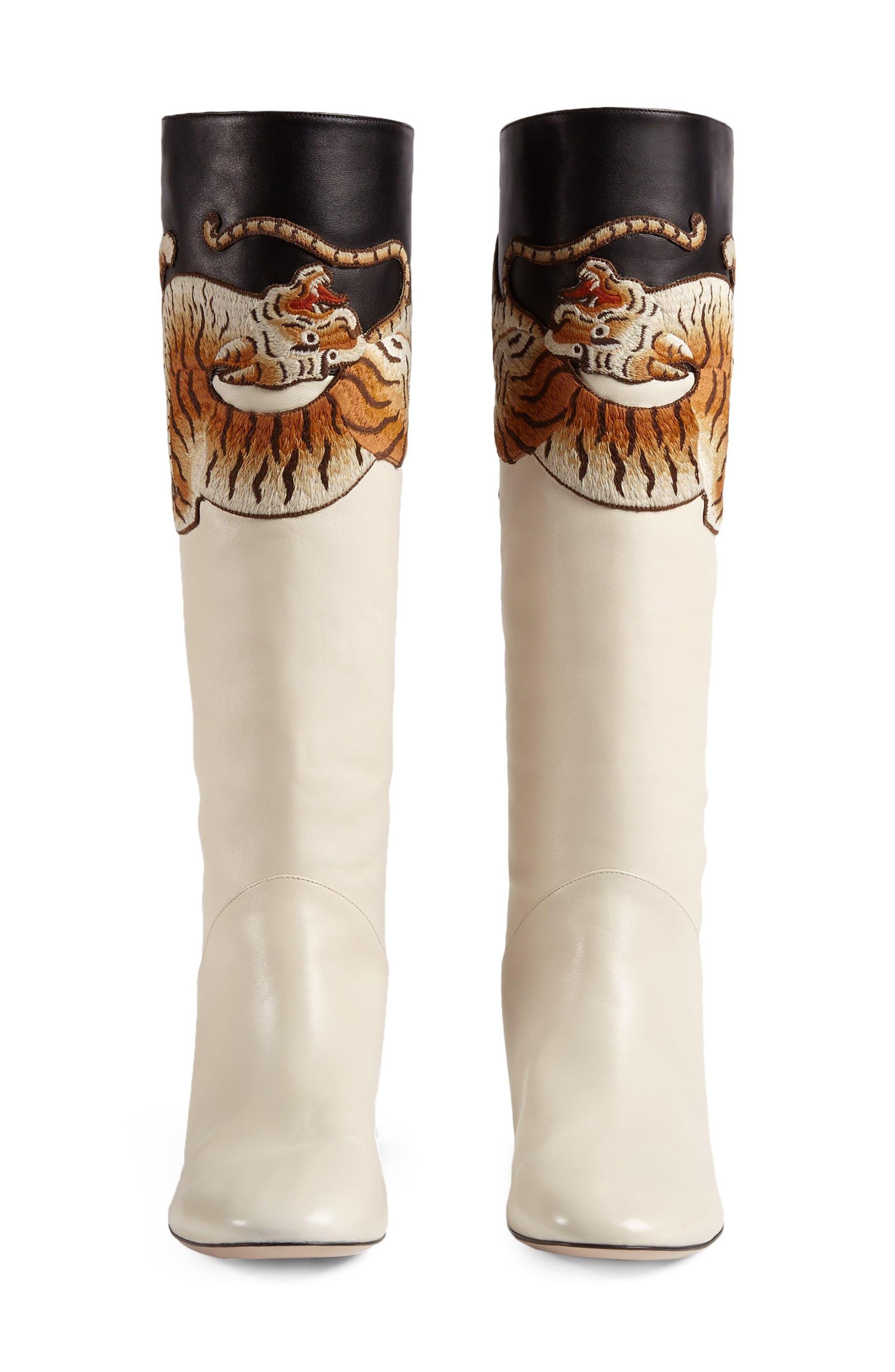 Imitation Pearl Tiger Appliqué Riding Boot,                             Alternate thumbnail 4, color,                             113