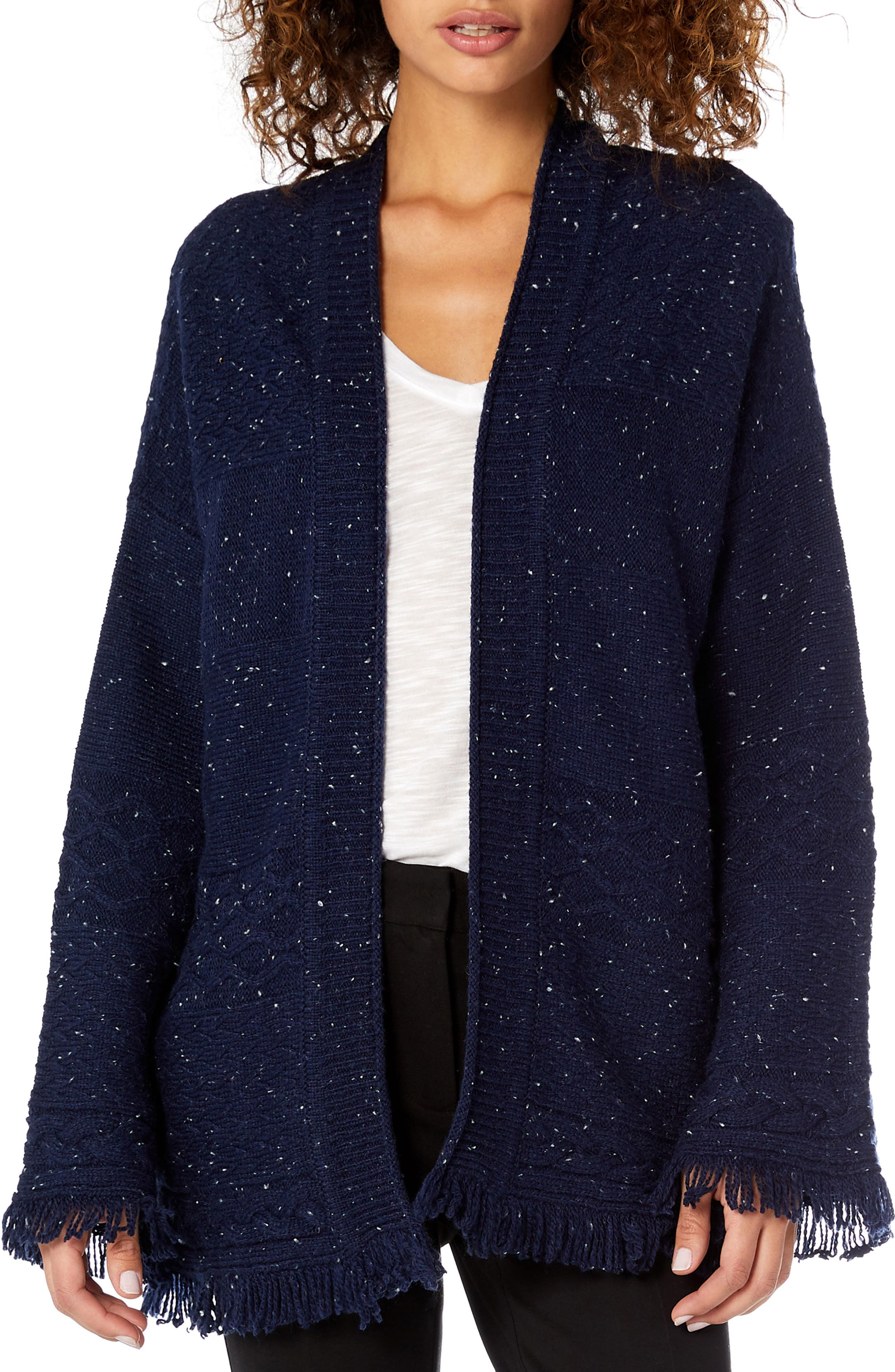 MICHAEL STARS Confetti Cable Bell Sleeve Cardigan in Passport