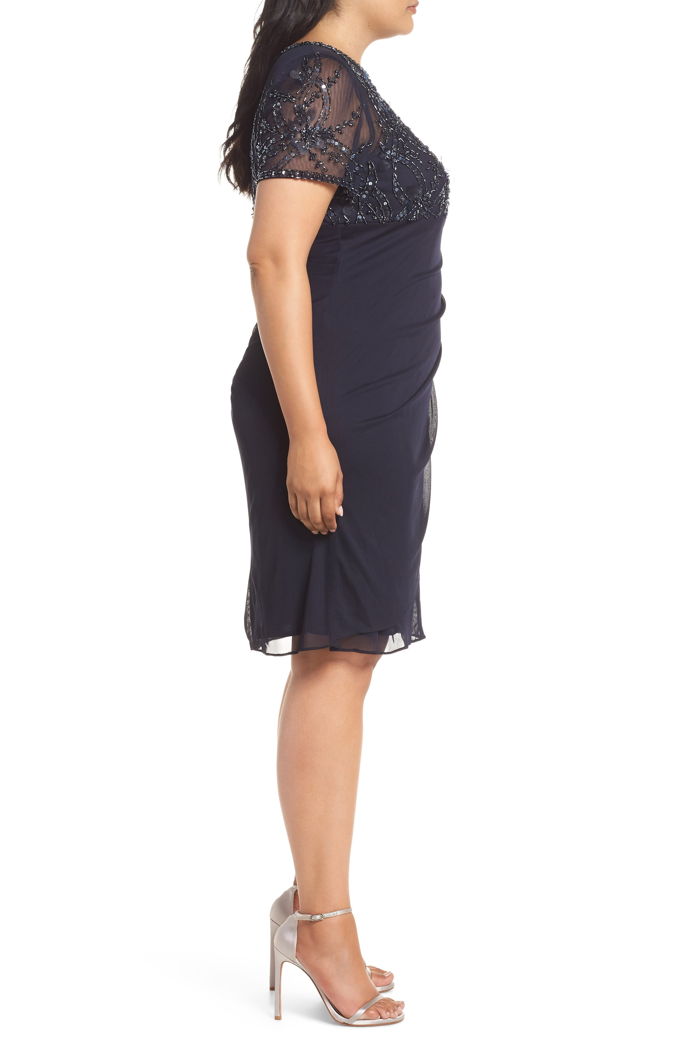 XSCAPE,                             Beaded Bodice Ruched Sheath Dress,                             Alternate thumbnail 3, color,                             400