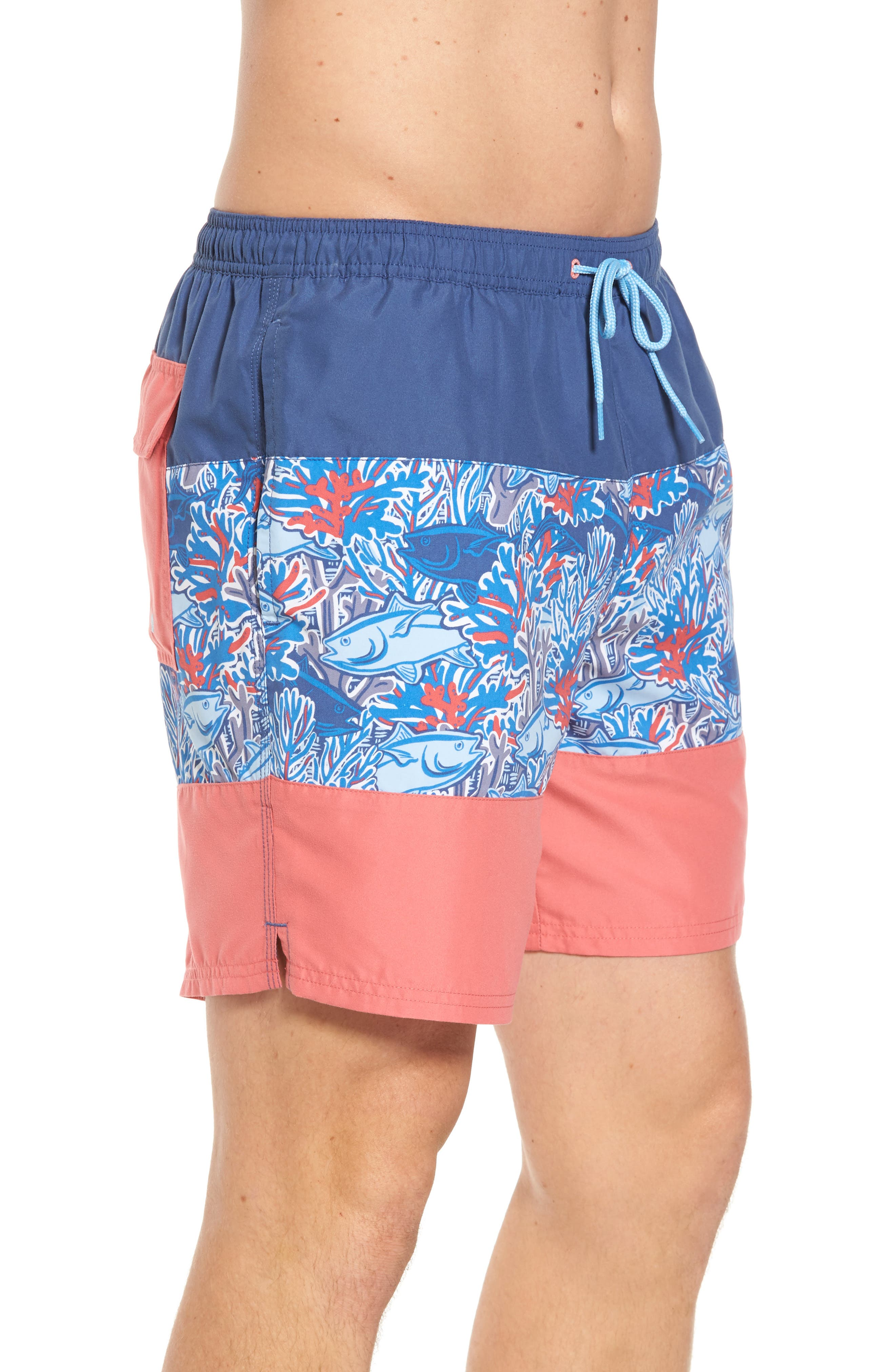 Chappy - Tuna in Coral Pieced Print Swim Trunks,                             Alternate thumbnail 3, color,
