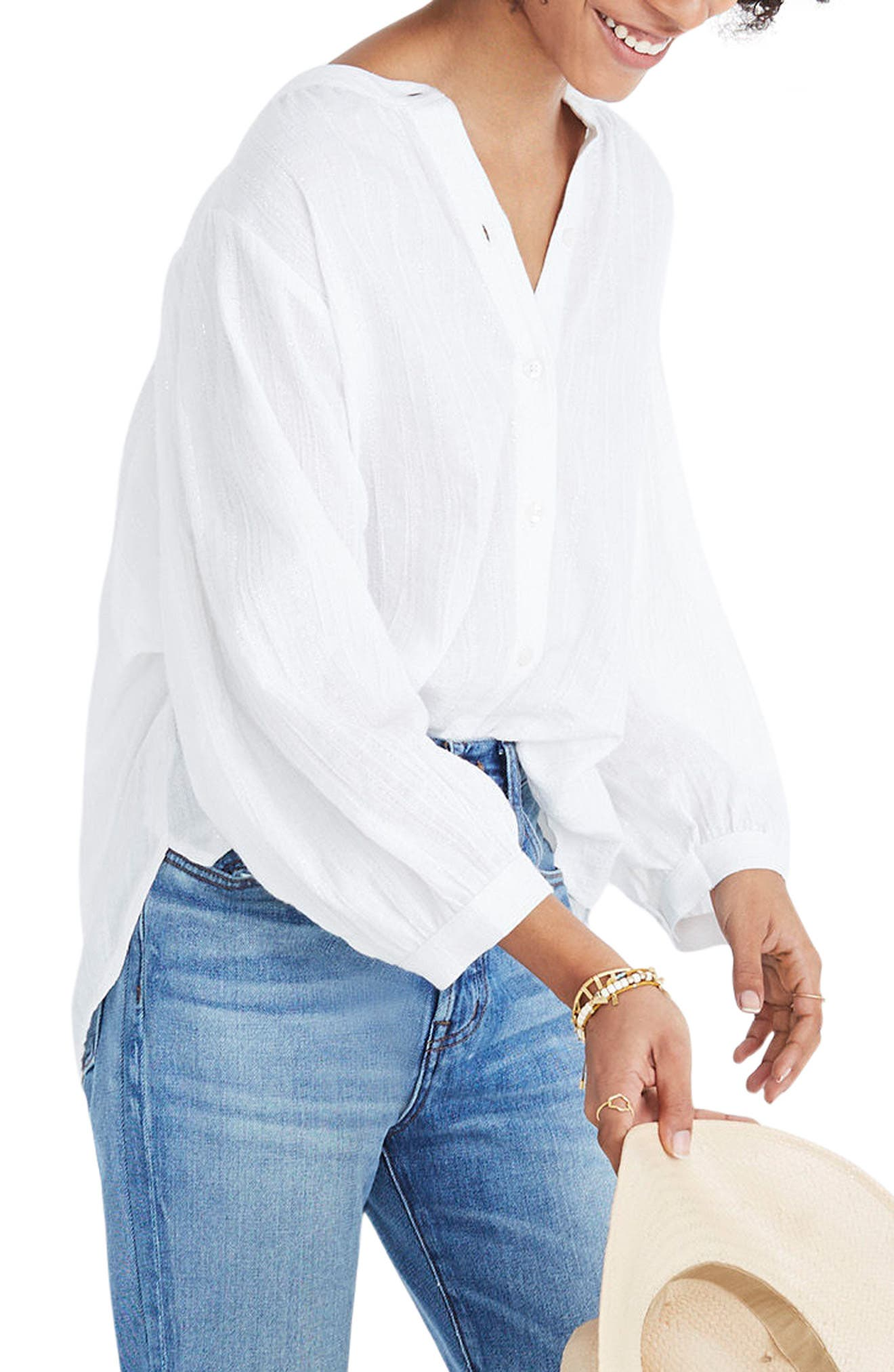 Shimmer Stripe Peasant Top, Main, color, 100