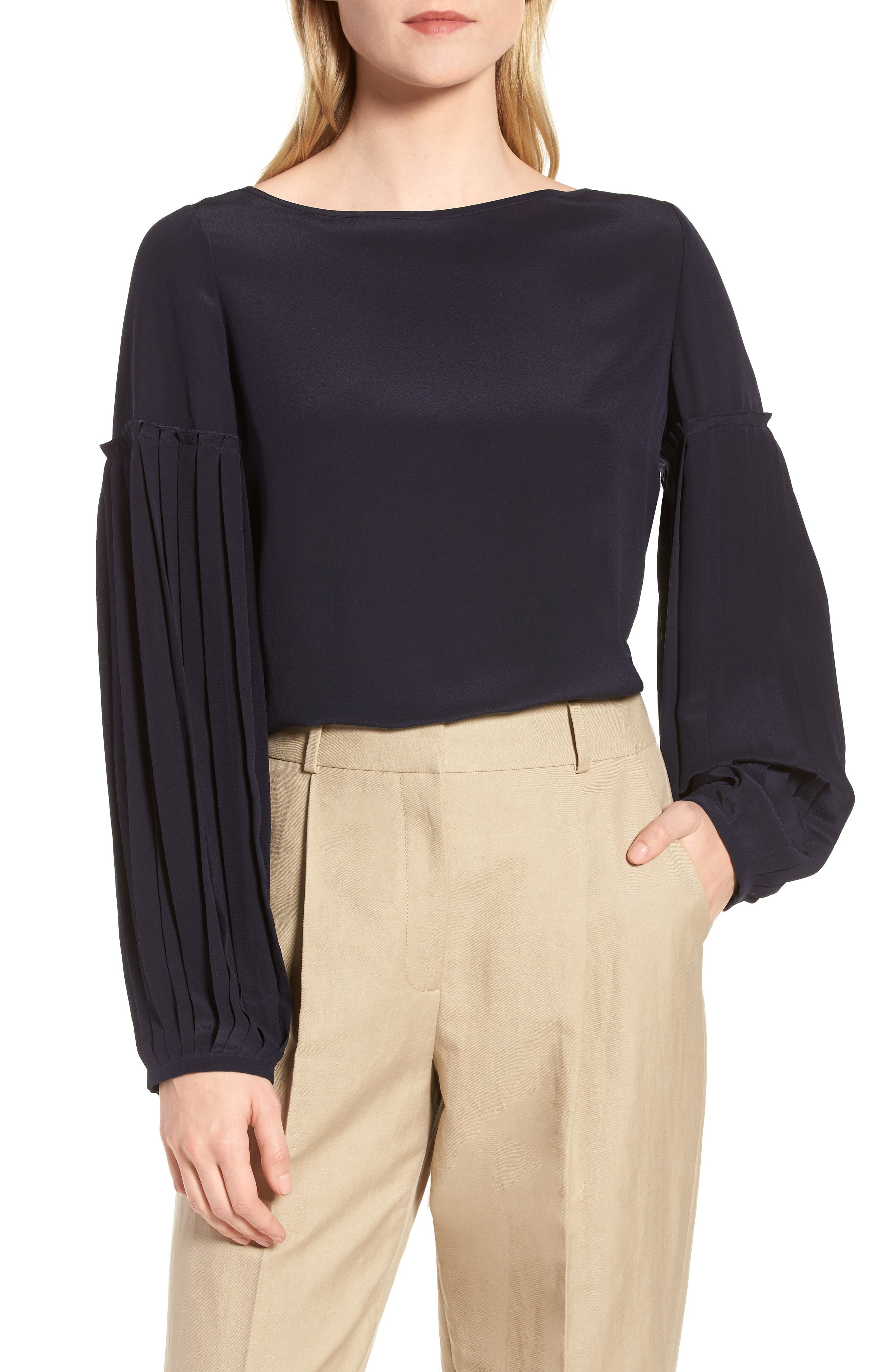 Pleat Sleeve Silk Top,                         Main,                         color, 410