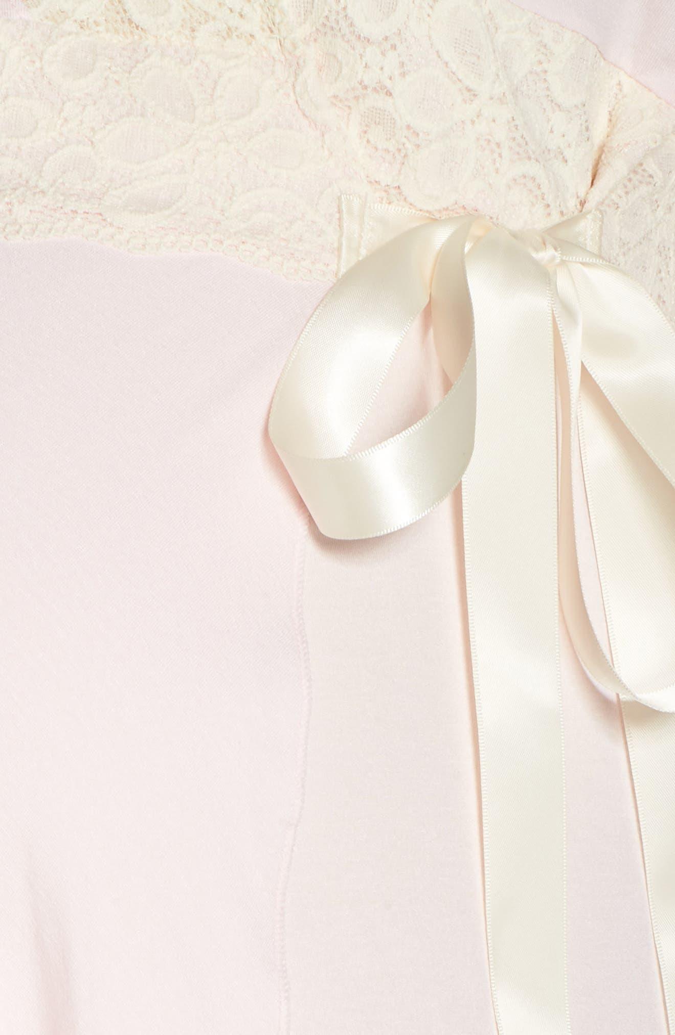 Lace Trim Maternity/Nursing Robe,                             Alternate thumbnail 5, color,                             PINK/ PEARL