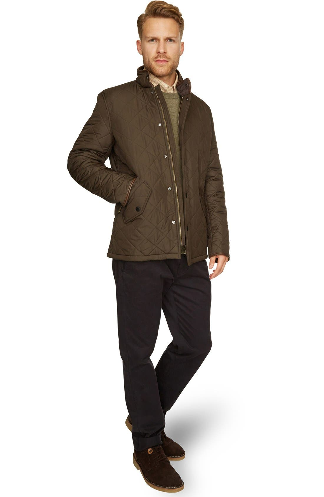 'Powell' Regular Fit Quilted Jacket,                             Alternate thumbnail 9, color,                             OLIVE