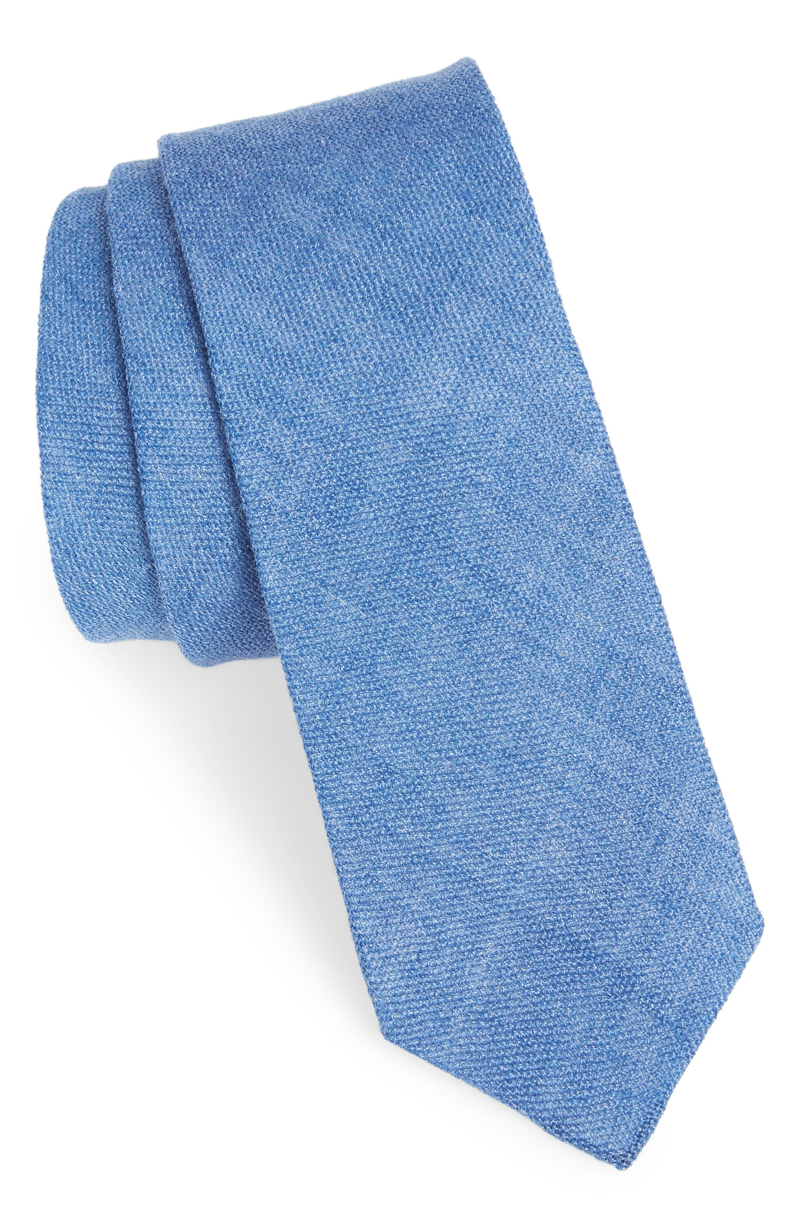 Bradford Solid Cotton Skinny Tie,                         Main,                         color, 400