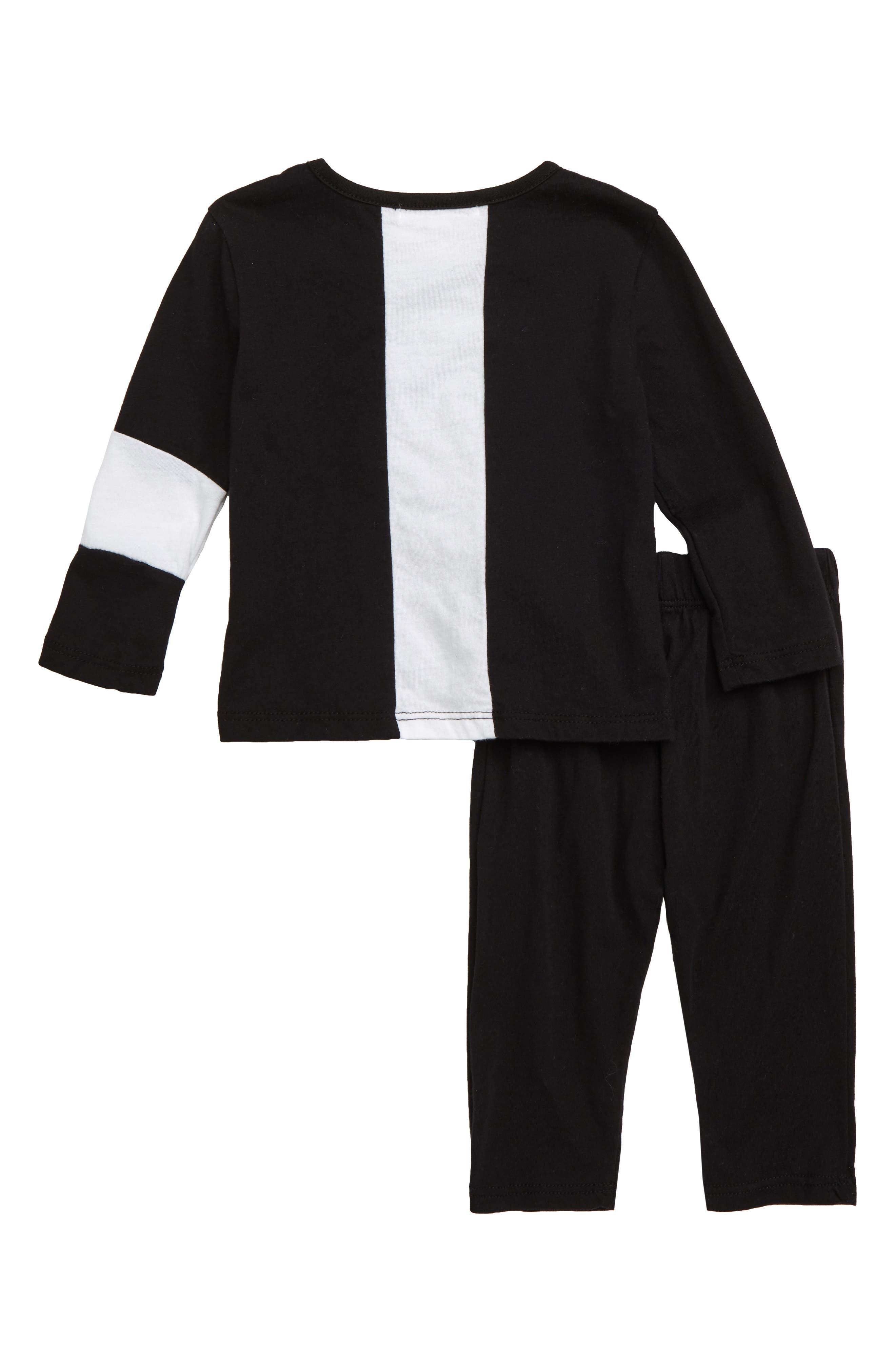 Colorblock Top & Pants Set,                             Alternate thumbnail 2, color,                             BLACK
