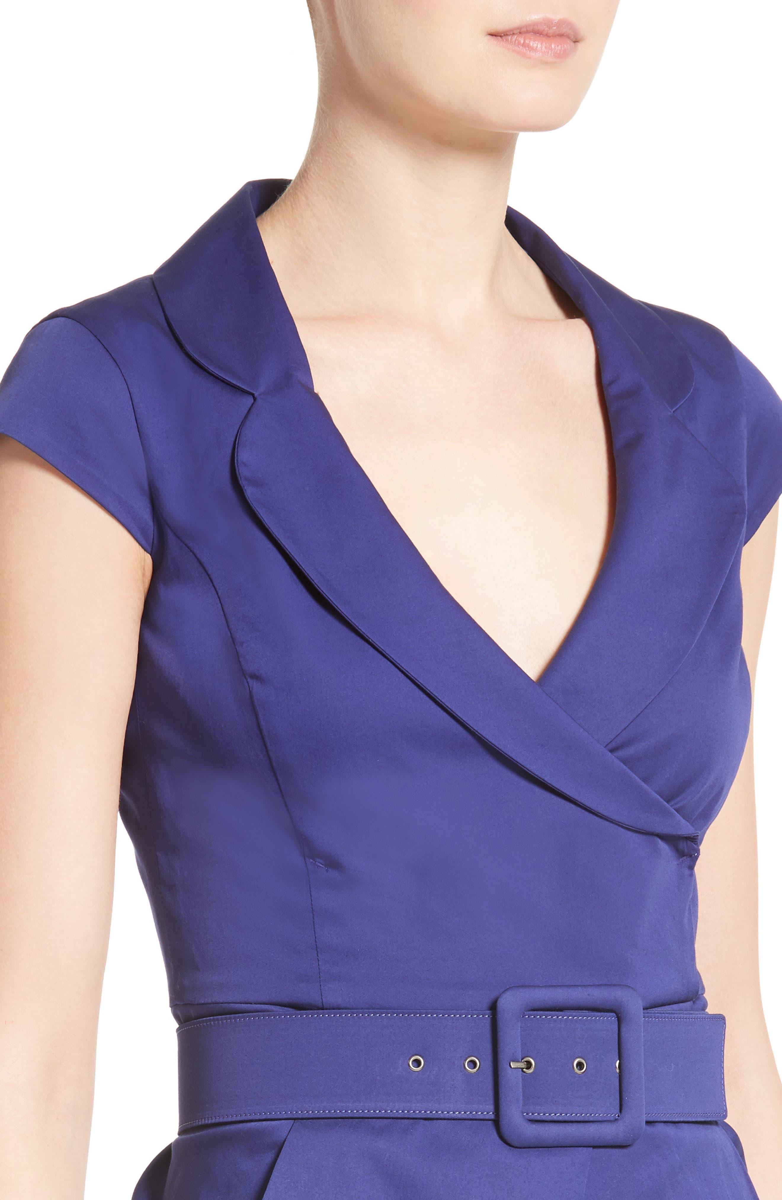 Belted Sheath Dress,                             Alternate thumbnail 4, color,