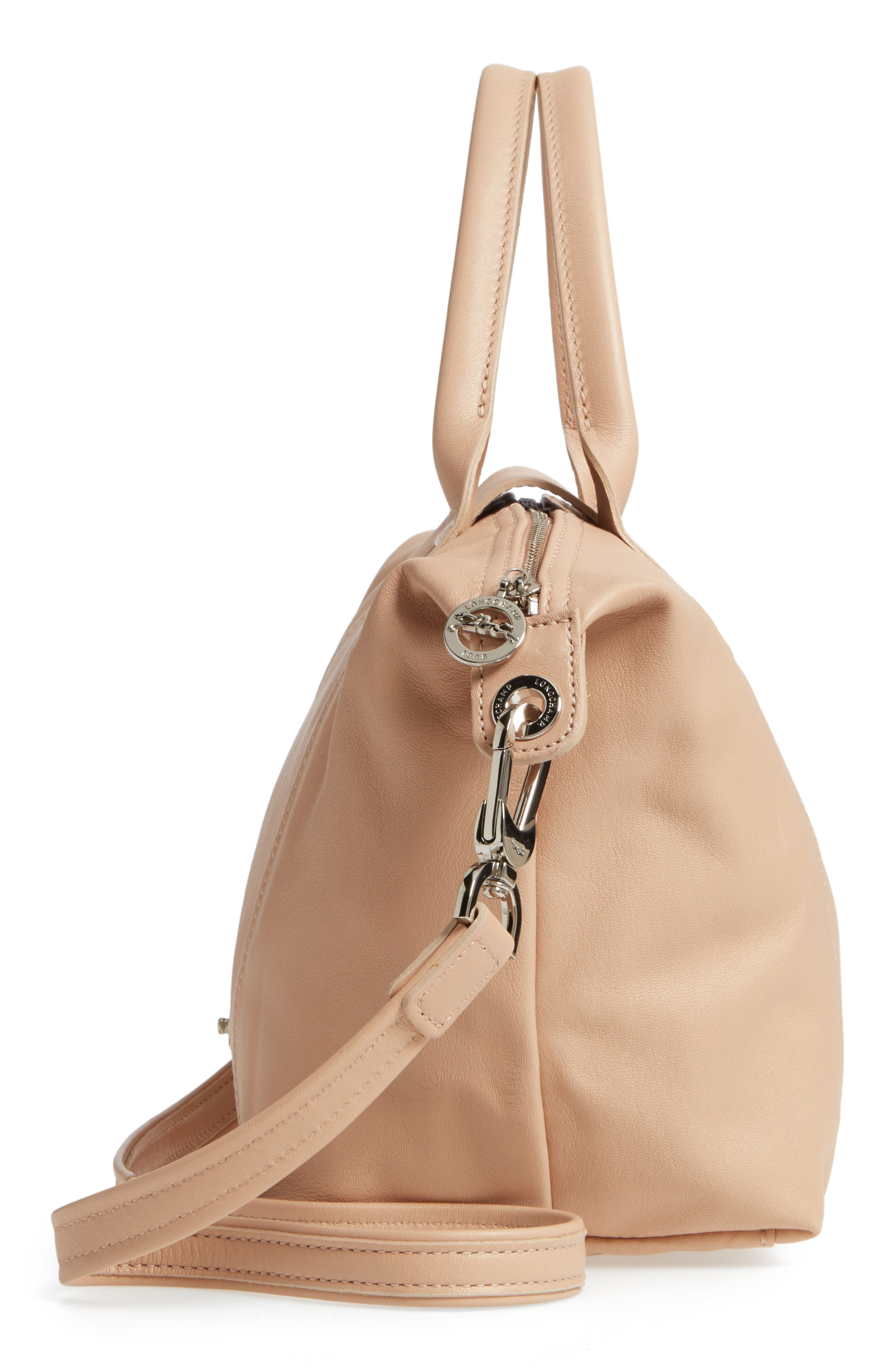 Small 'Le Pliage Cuir' Leather Top Handle Tote,                             Alternate thumbnail 70, color,