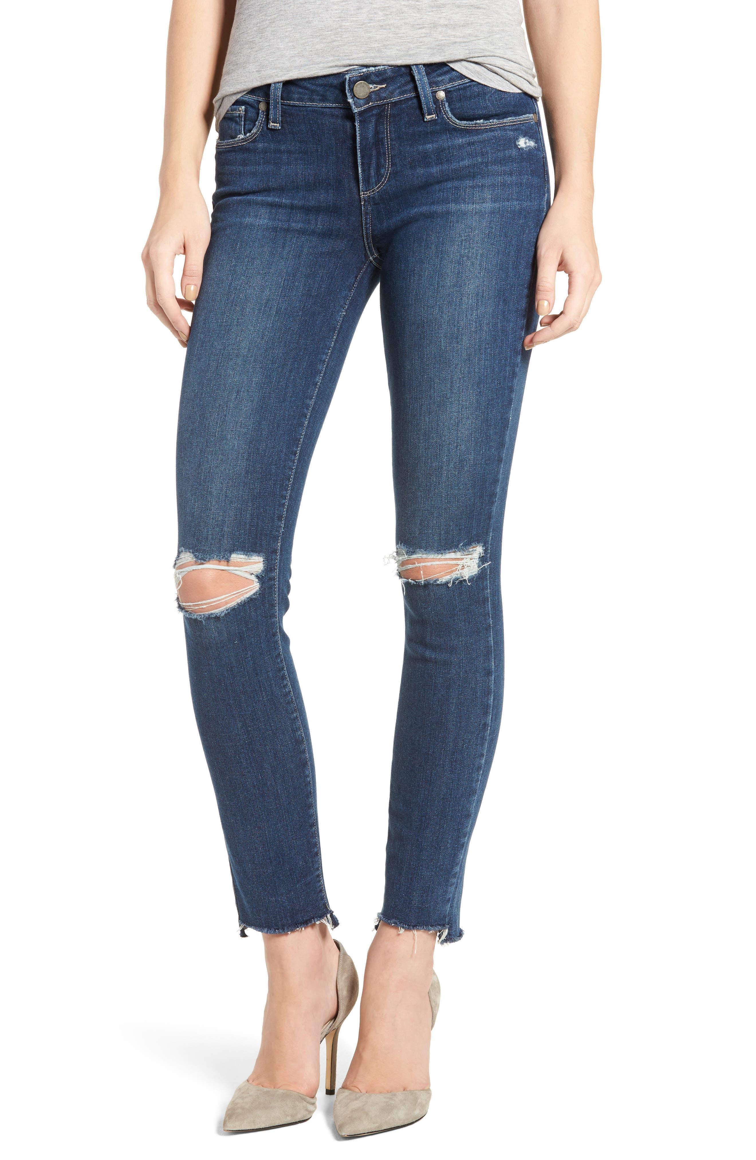 Verdugo Step Hem Ankle Skinny Jeans (Dede Destructed),                         Main,                         color, 400