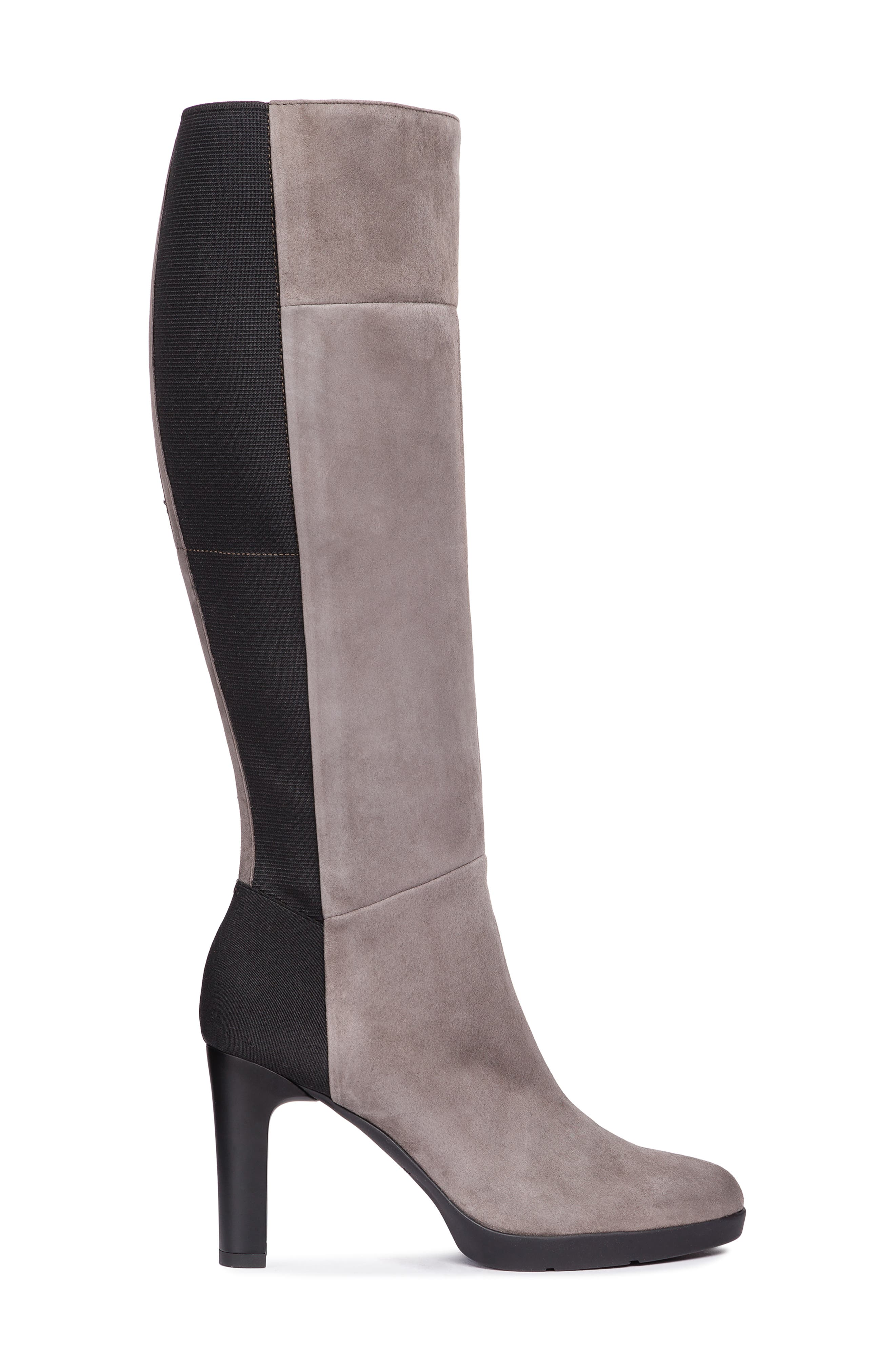 GEOX,                             Annya Knee High Boot,                             Alternate thumbnail 3, color,                             CHESTNUT SUEDE