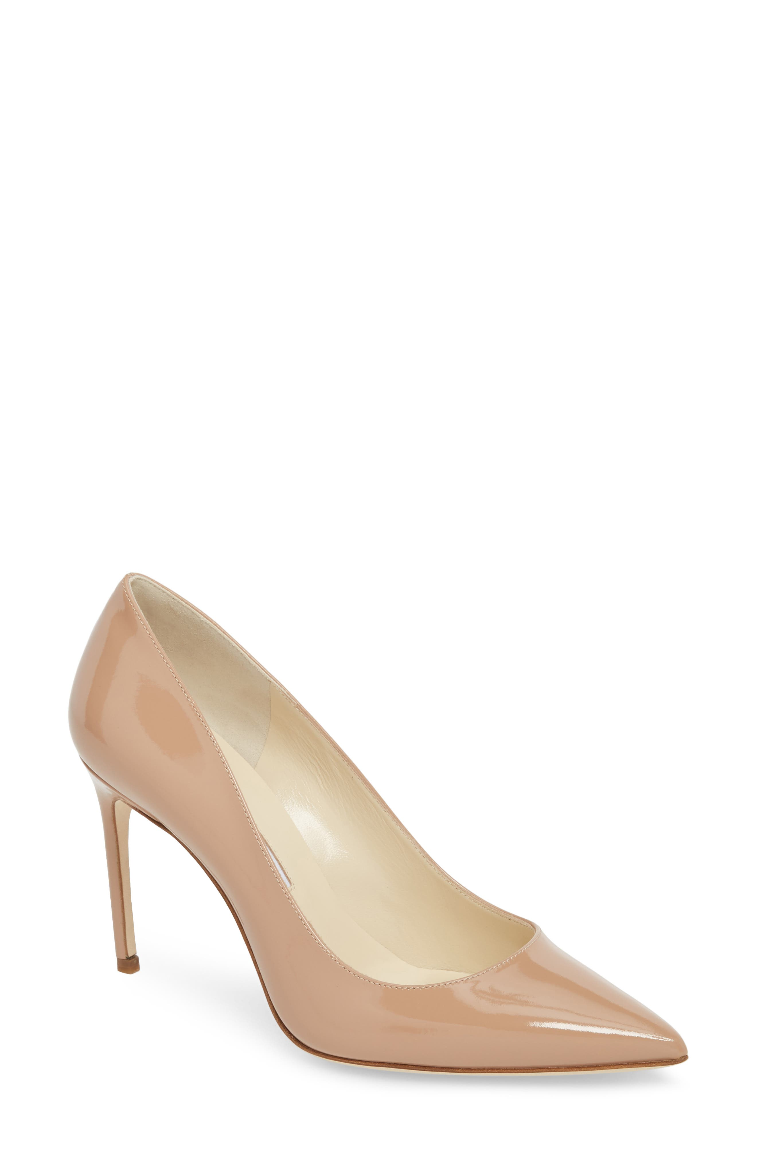 BRIAN ATWOOD Valerie Pointy Toe Pump in Cappucino Nude Patent