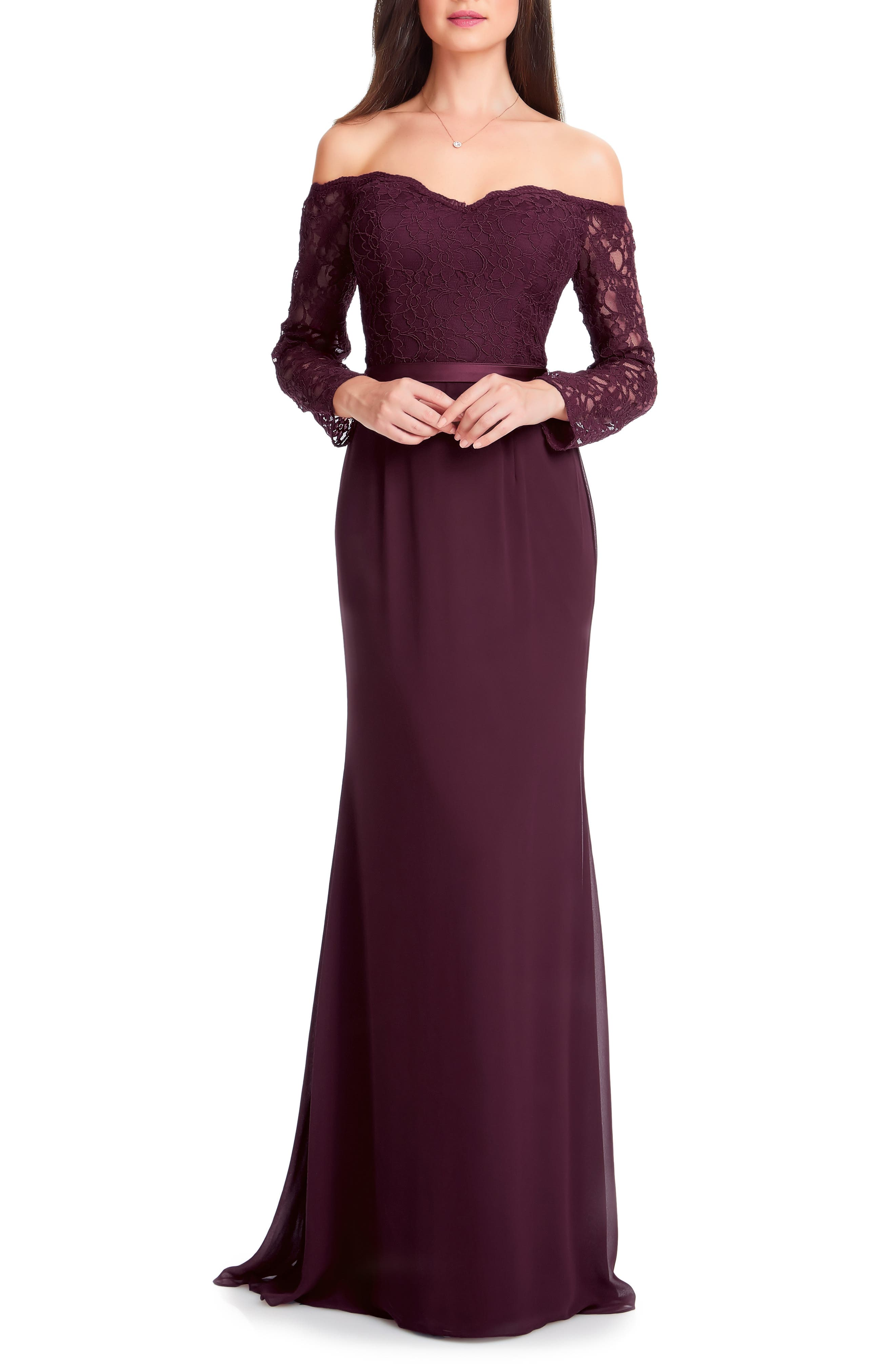 #levkoff Off The Shoulder Three-Quarter Sleeve Gown, Red