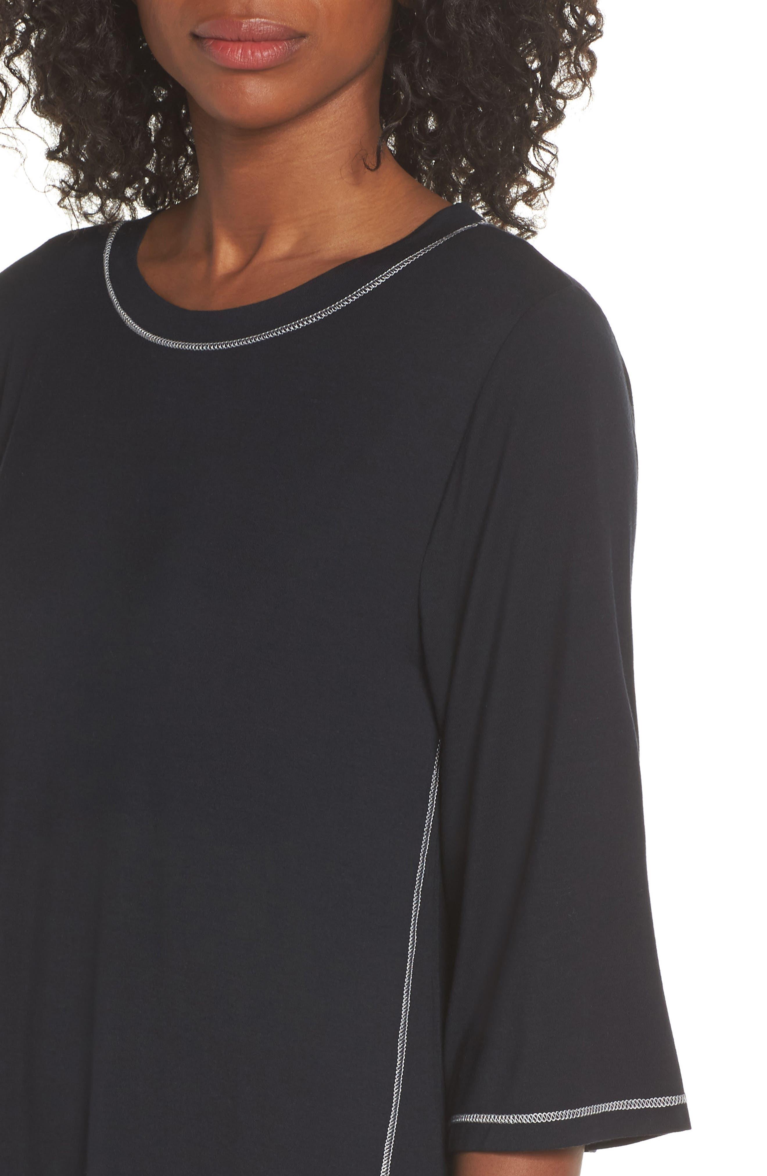Luxury Sleep Shirt,                             Alternate thumbnail 4, color,                             BLACK