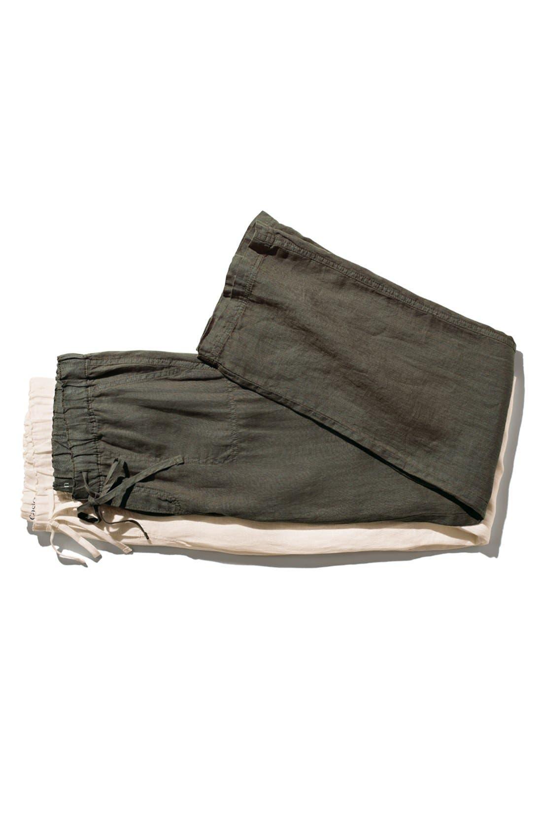 Drawstring Waist Linen Pants,                             Alternate thumbnail 4, color,                             001