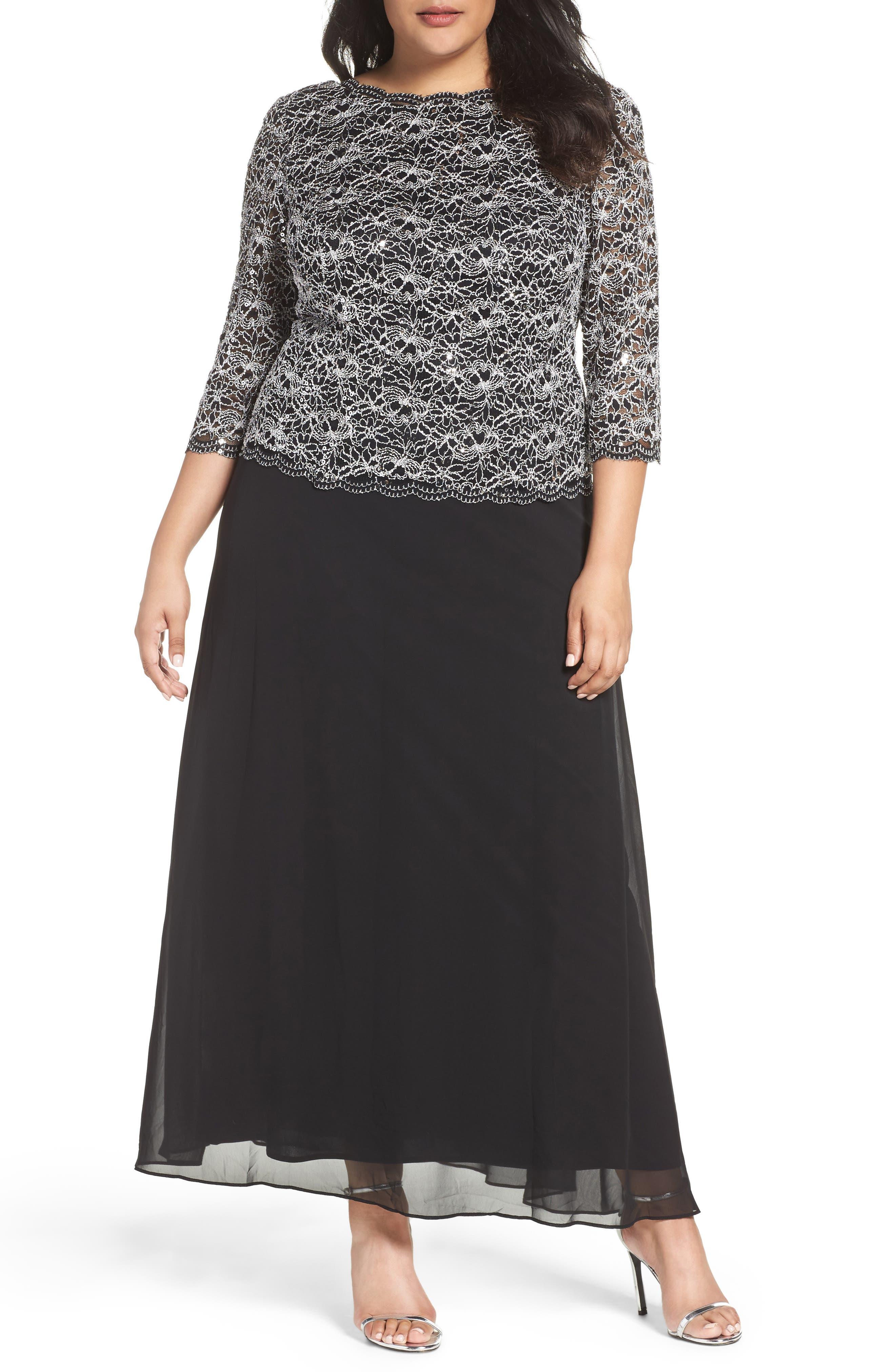 ALEX EVENINGS,                             Mock Two-Piece Lace & Chiffon A-Line Gown,                             Main thumbnail 1, color,                             006