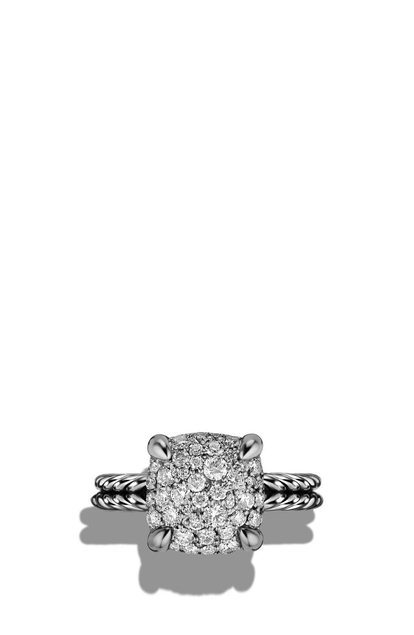 'Châtelaine' Ring with Diamonds,                             Alternate thumbnail 4, color,                             SILVER