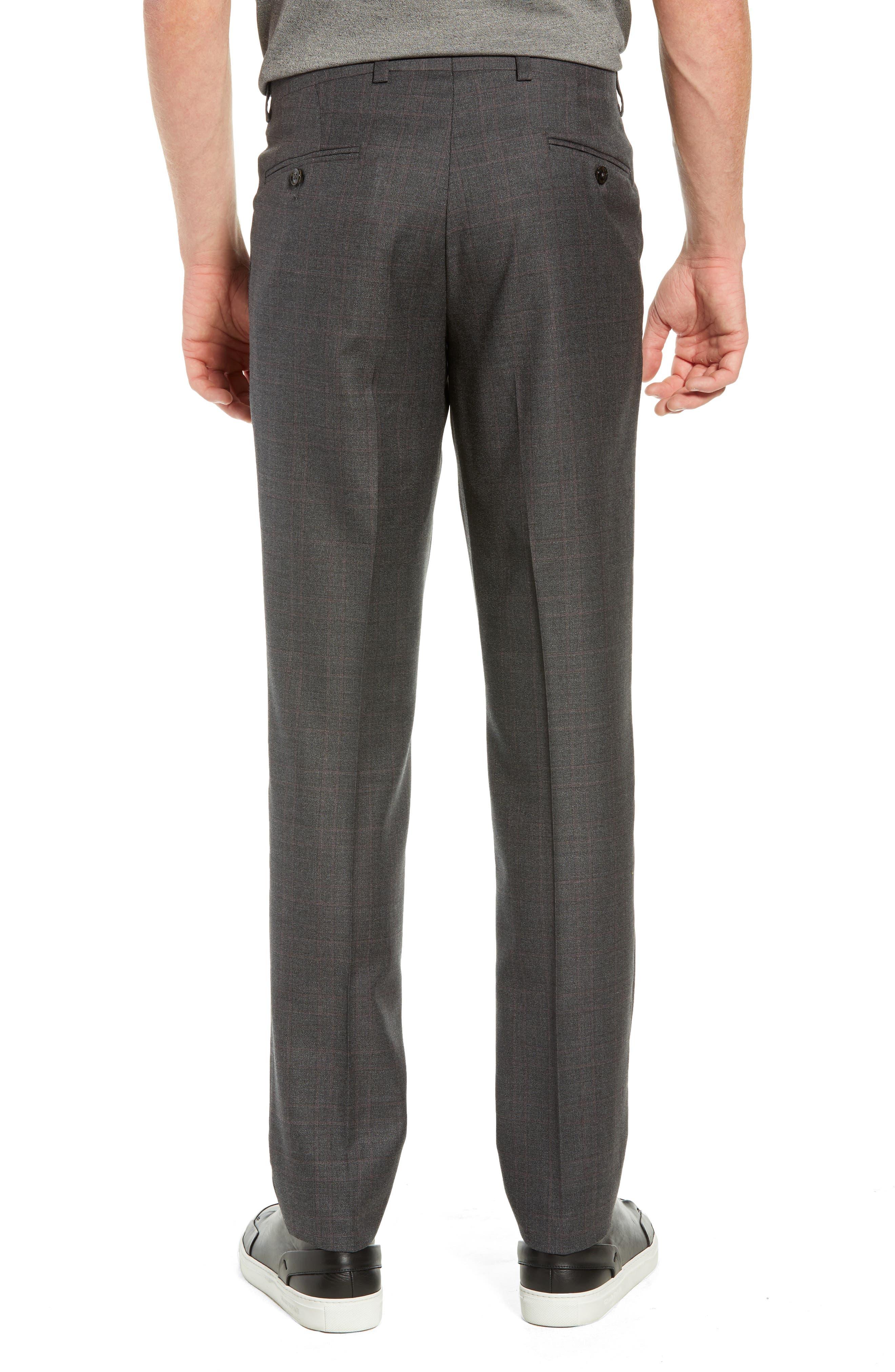 Jefferson Flat Front Plaid Wool Trousers,                             Alternate thumbnail 2, color,                             GREY