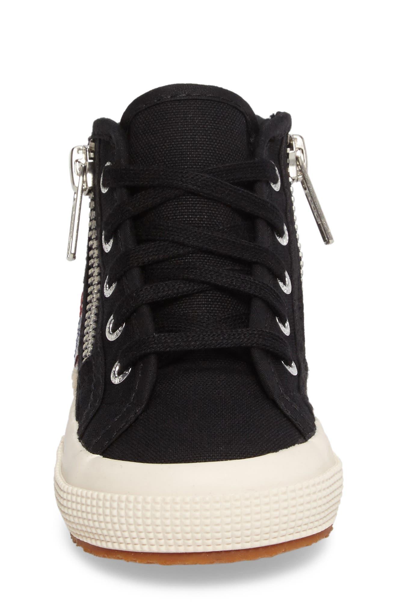 Zip High Top Sneaker,                             Alternate thumbnail 4, color,                             001