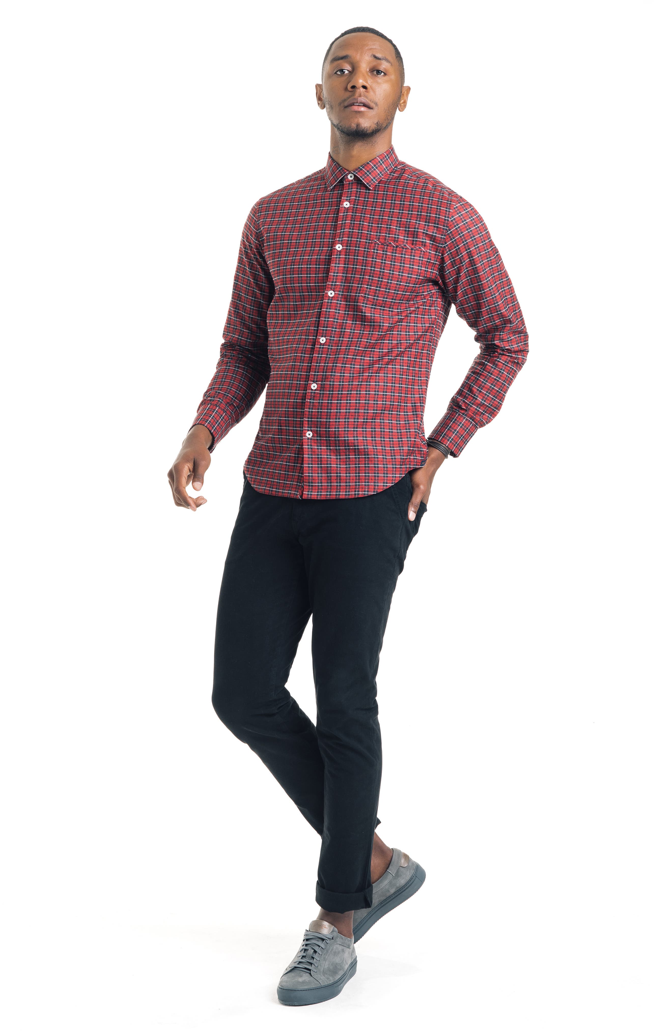 Slim Fit Tartan Plaid Sport Shirt,                             Alternate thumbnail 4, color,                             RED
