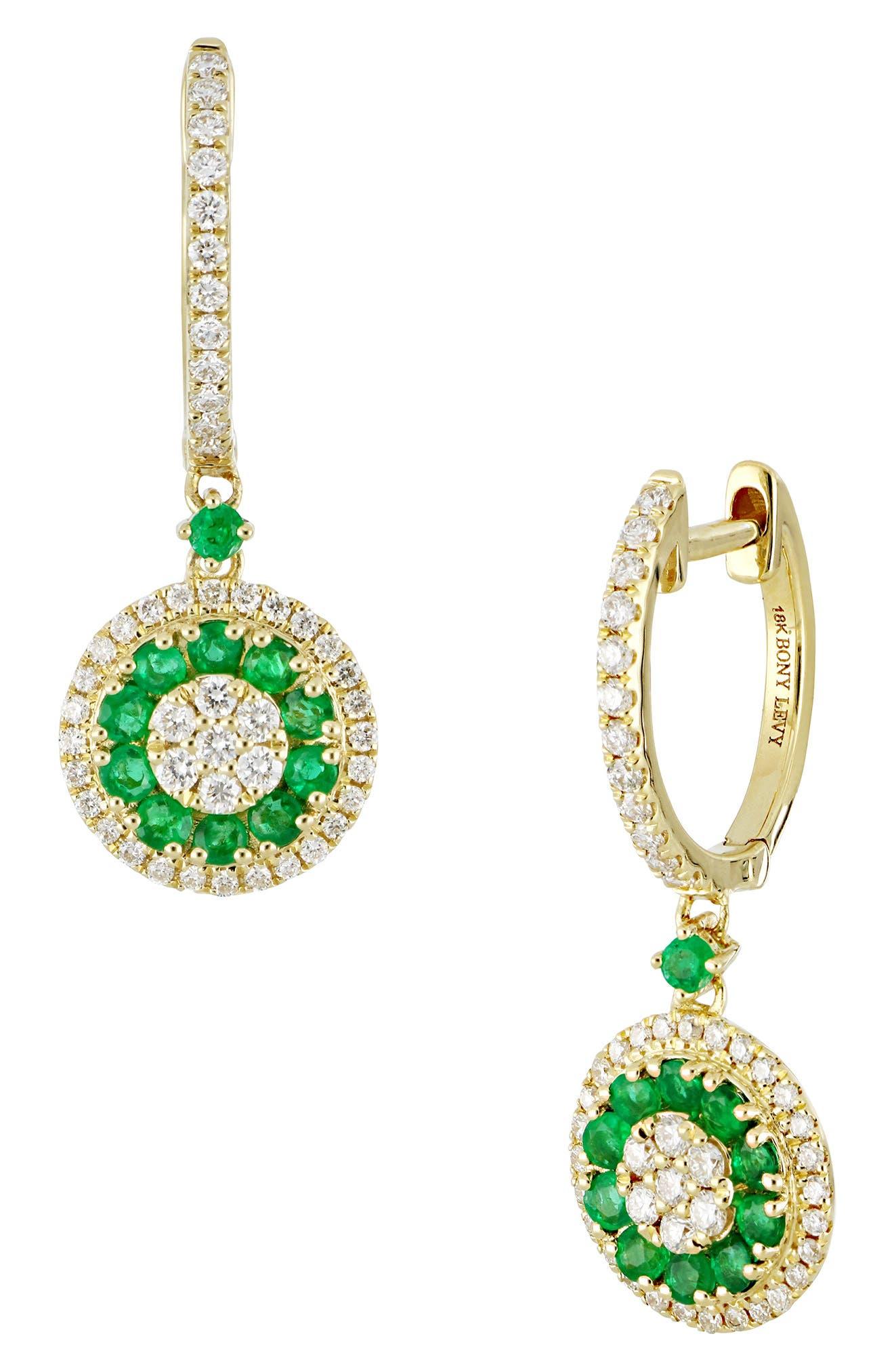 Diamond & Emerald Drop Earrings,                             Main thumbnail 1, color,                             GOLD/ EMERALD
