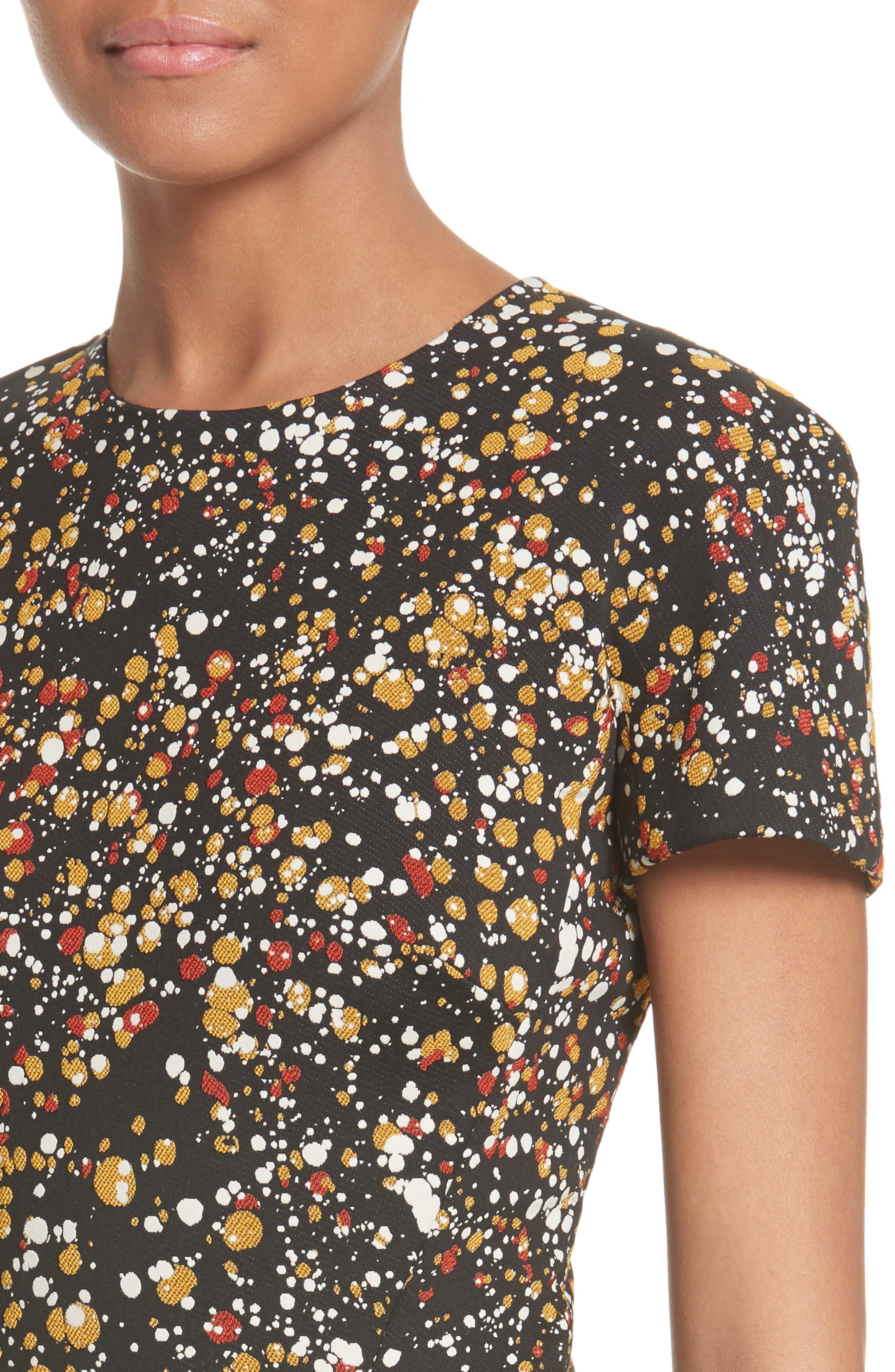Marble Jacquard Dress,                             Alternate thumbnail 4, color,                             001