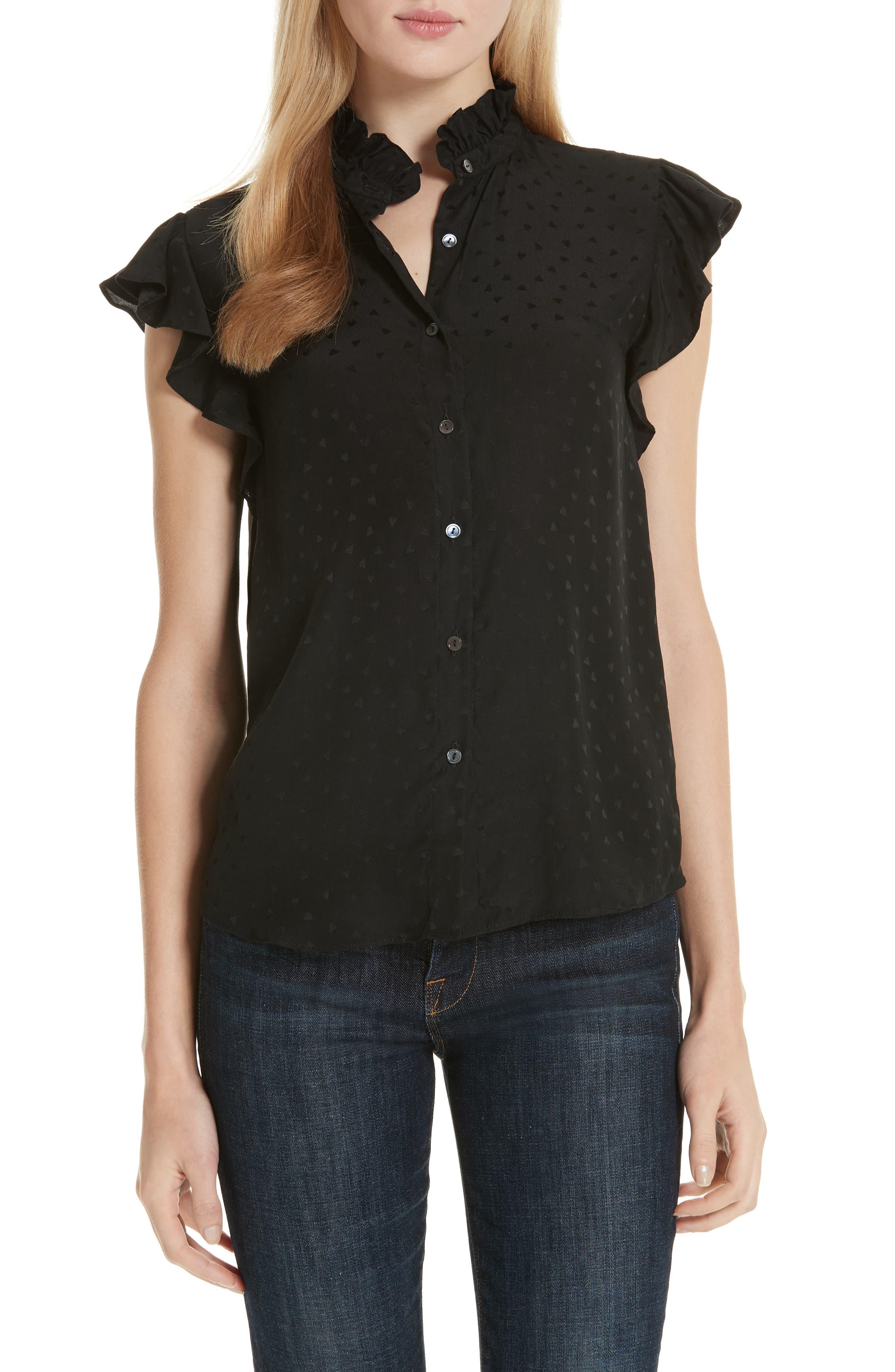Silk Jacquard Top,                         Main,                         color, BLACK