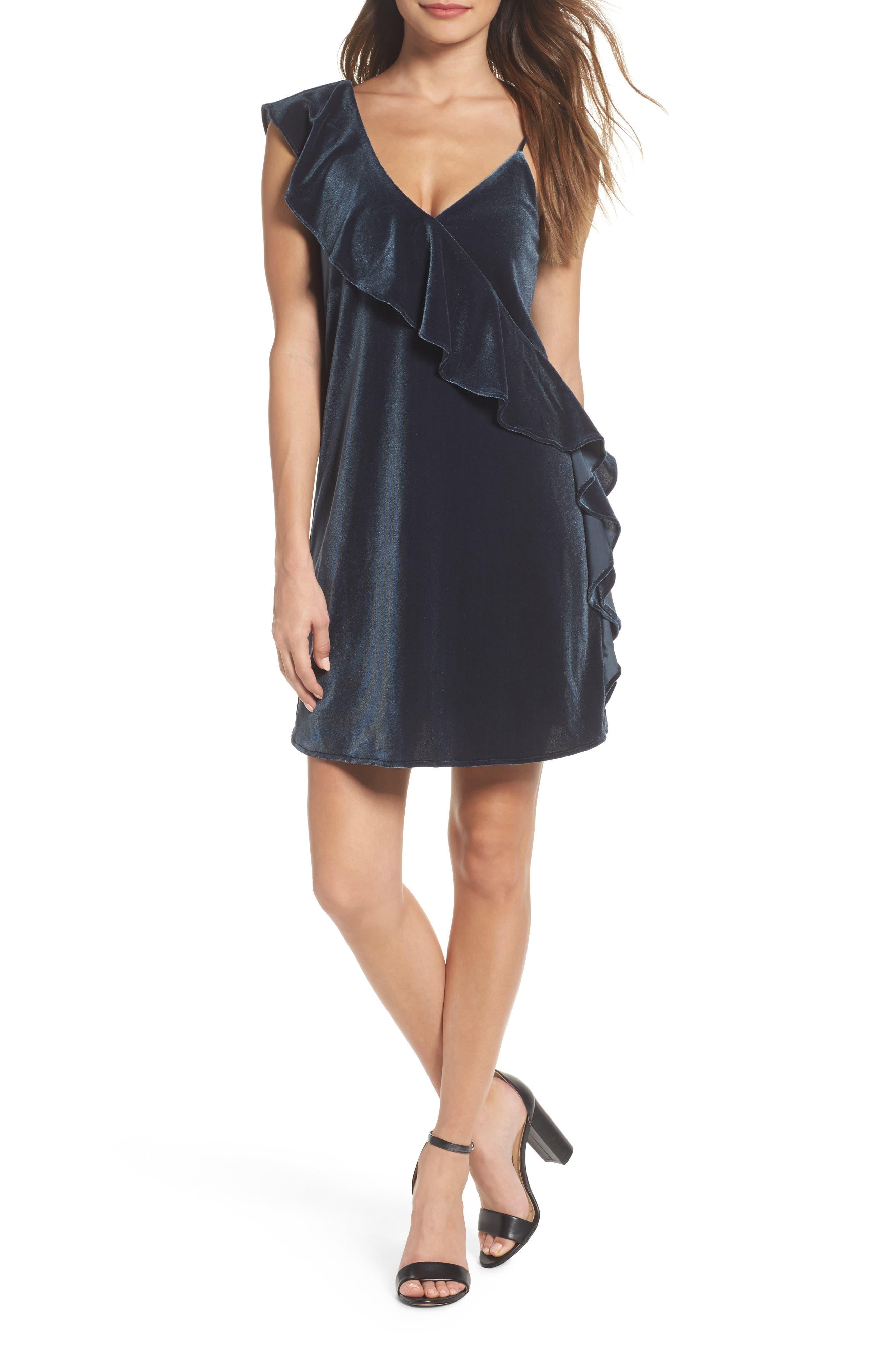 Ruffle Velvet Dress,                             Main thumbnail 1, color,                             302