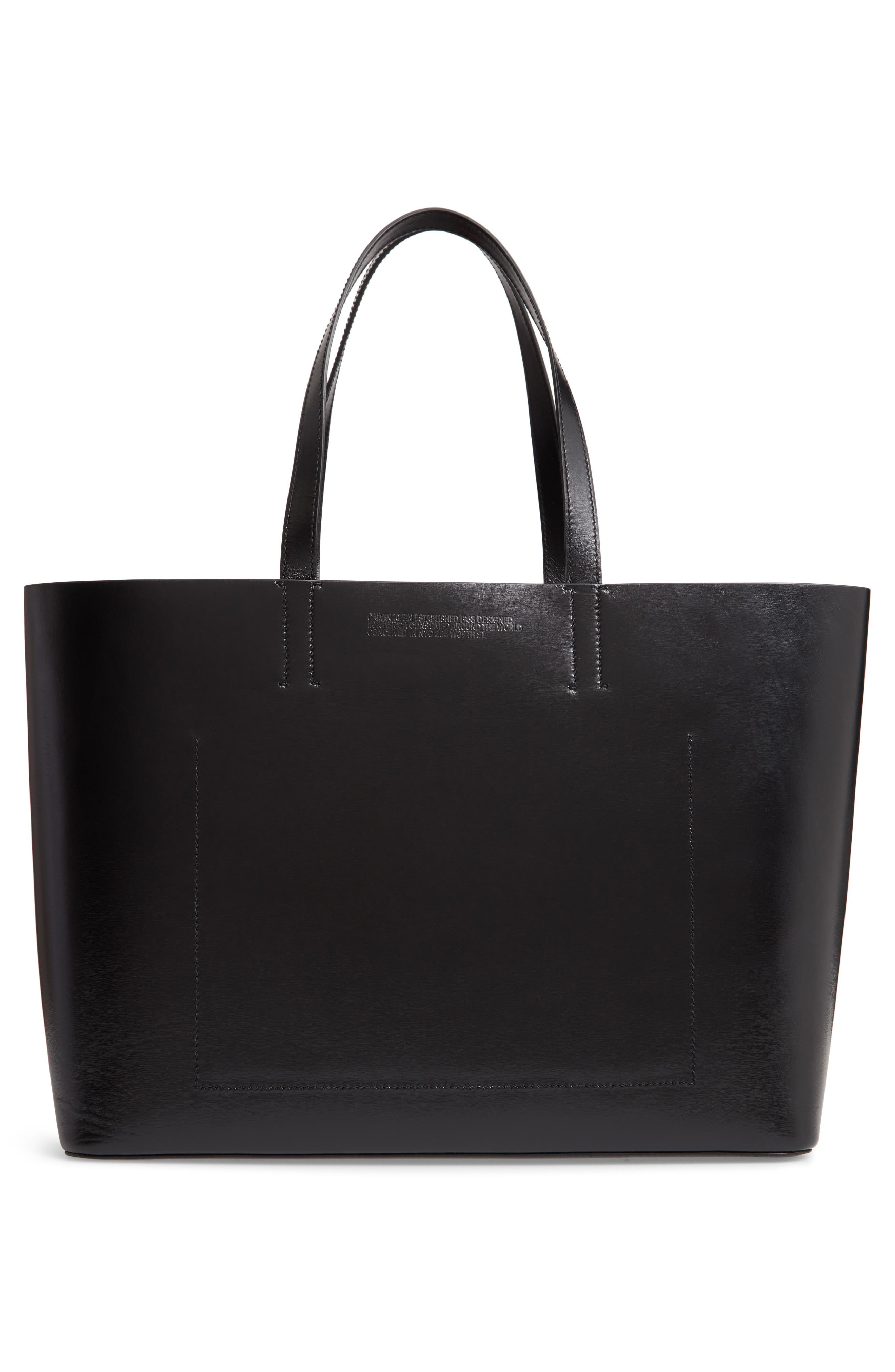 Coyote East/West Leather Tote,                             Alternate thumbnail 3, color,                             BLACK