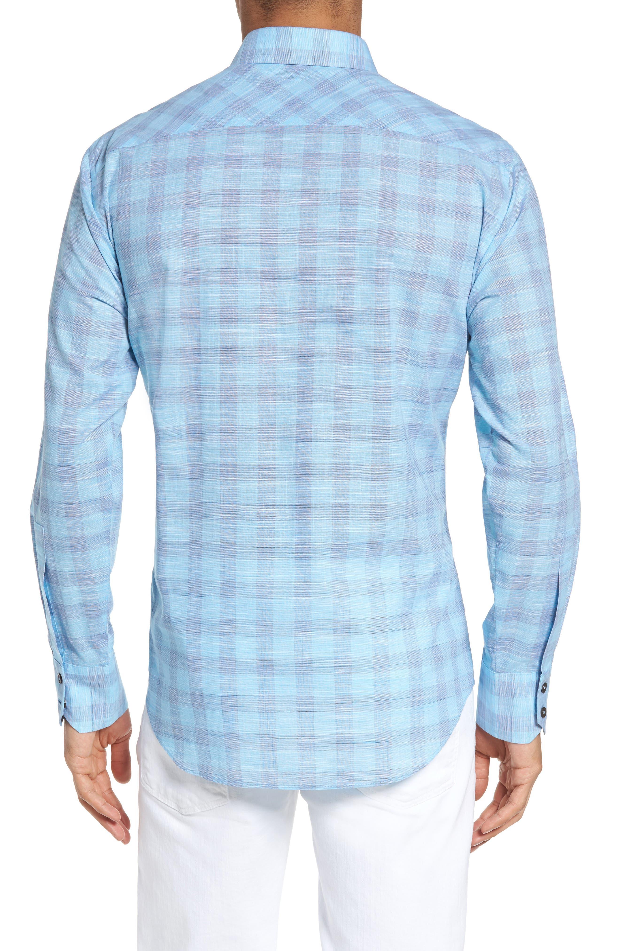 Colin Trim FIt Plaid Sport Shirt,                             Alternate thumbnail 2, color,