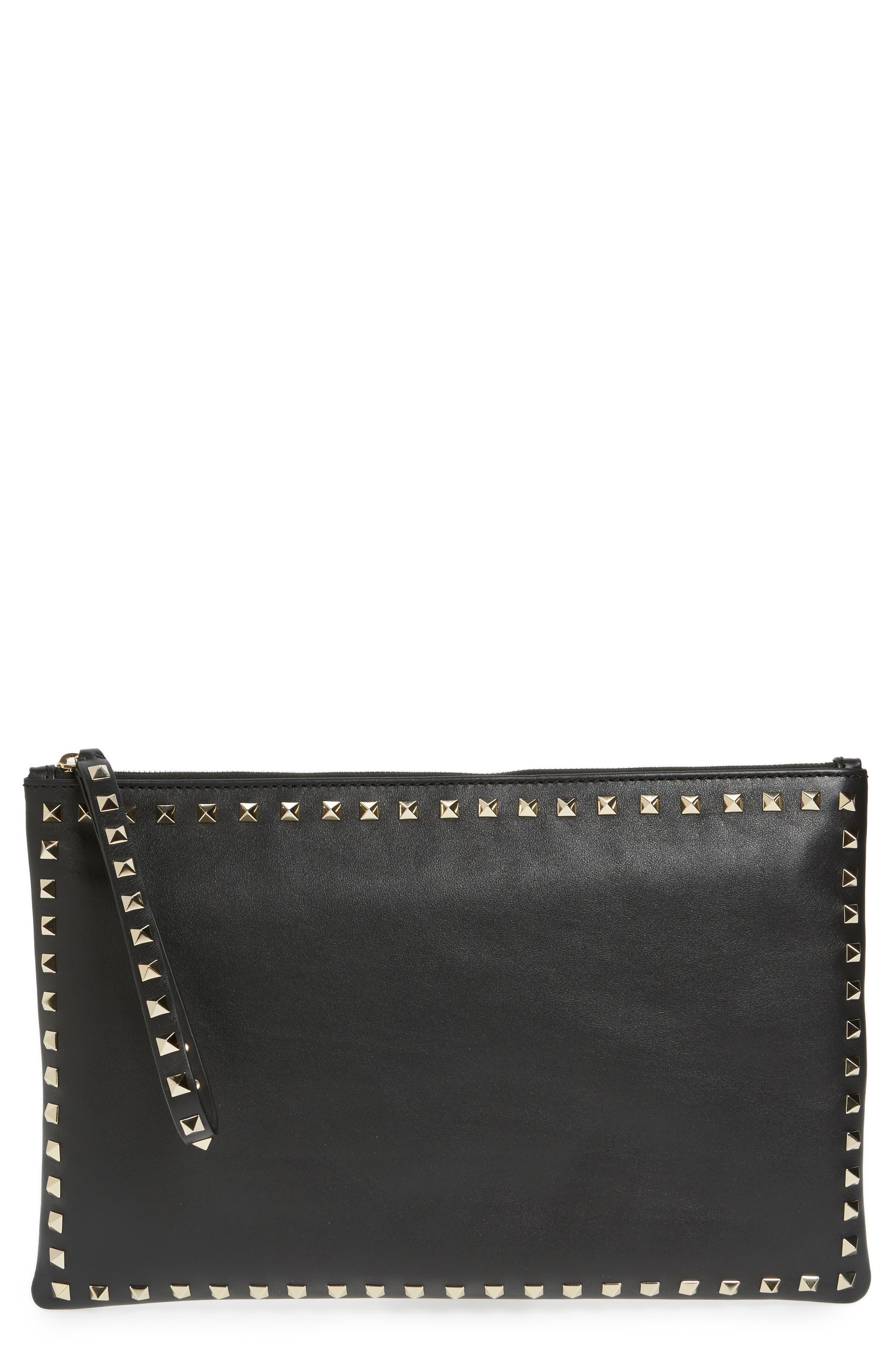 Valentino Small Rockstud Vitello Leather Clutch,                             Main thumbnail 1, color,                             001