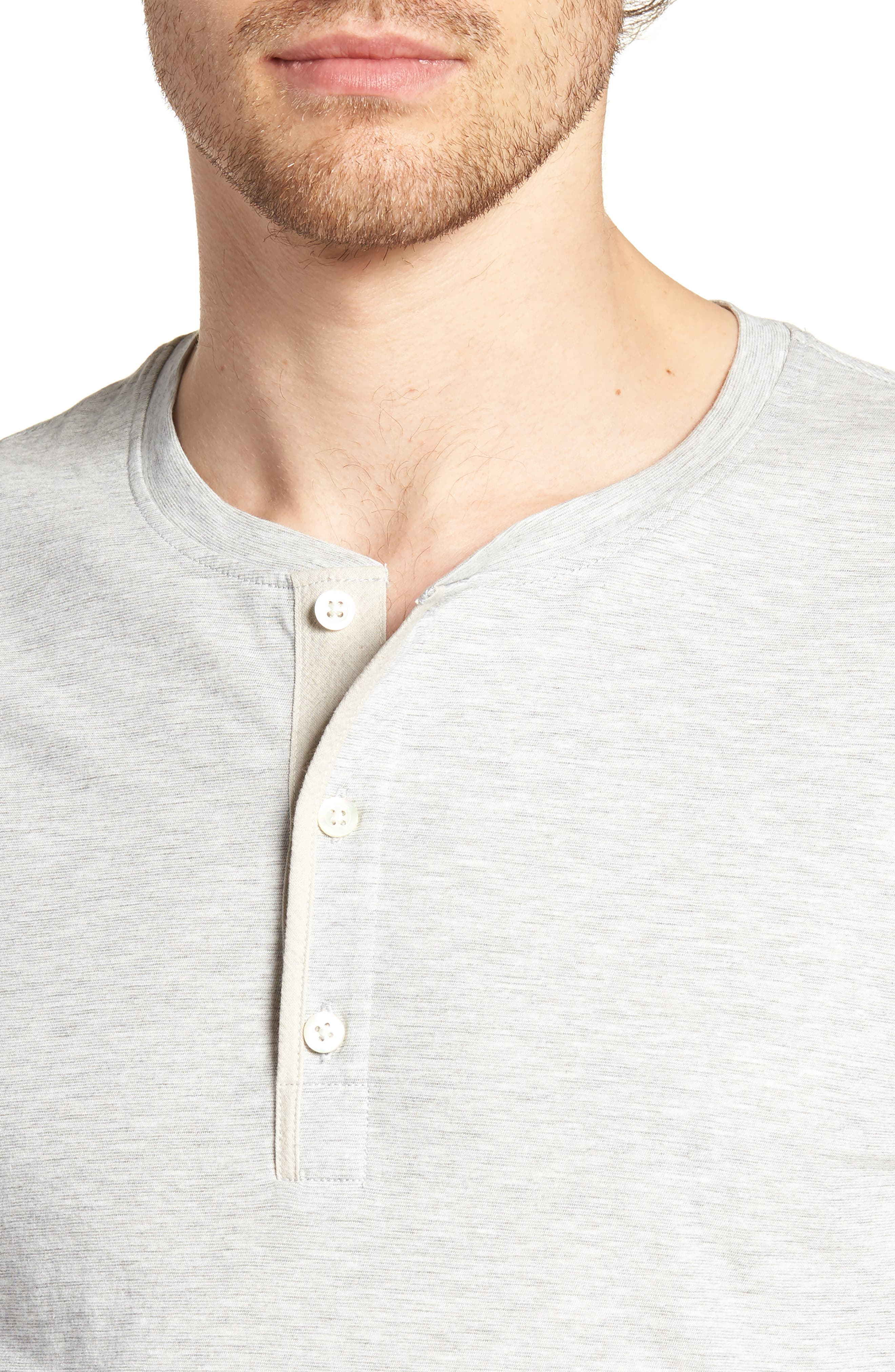 Hartford Slim Fit Henley,                             Alternate thumbnail 4, color,                             GREY