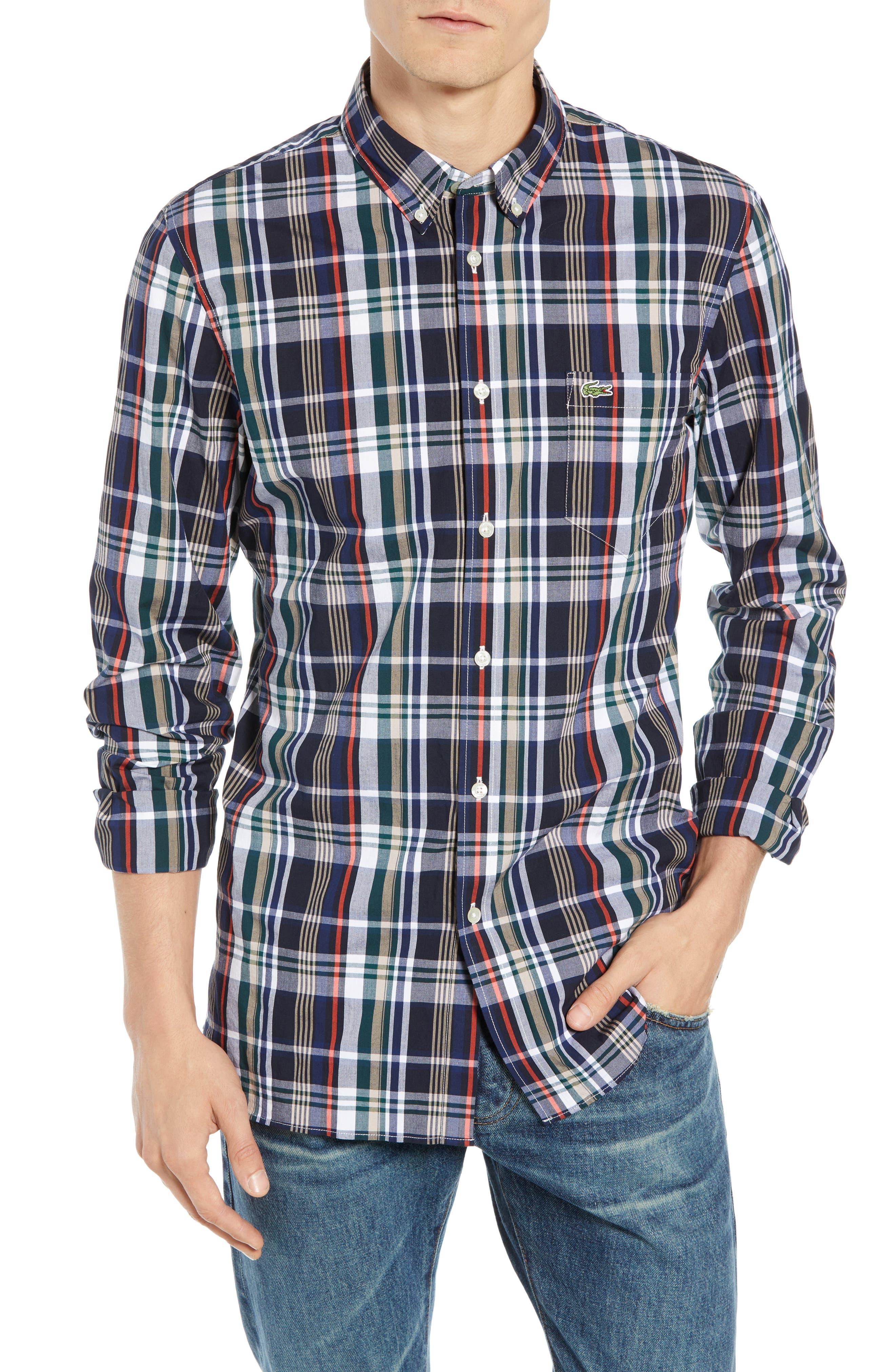 Slim Fit Plaid Sport Shirt,                         Main,                         color, DY5 ACONIT/ MULTICO
