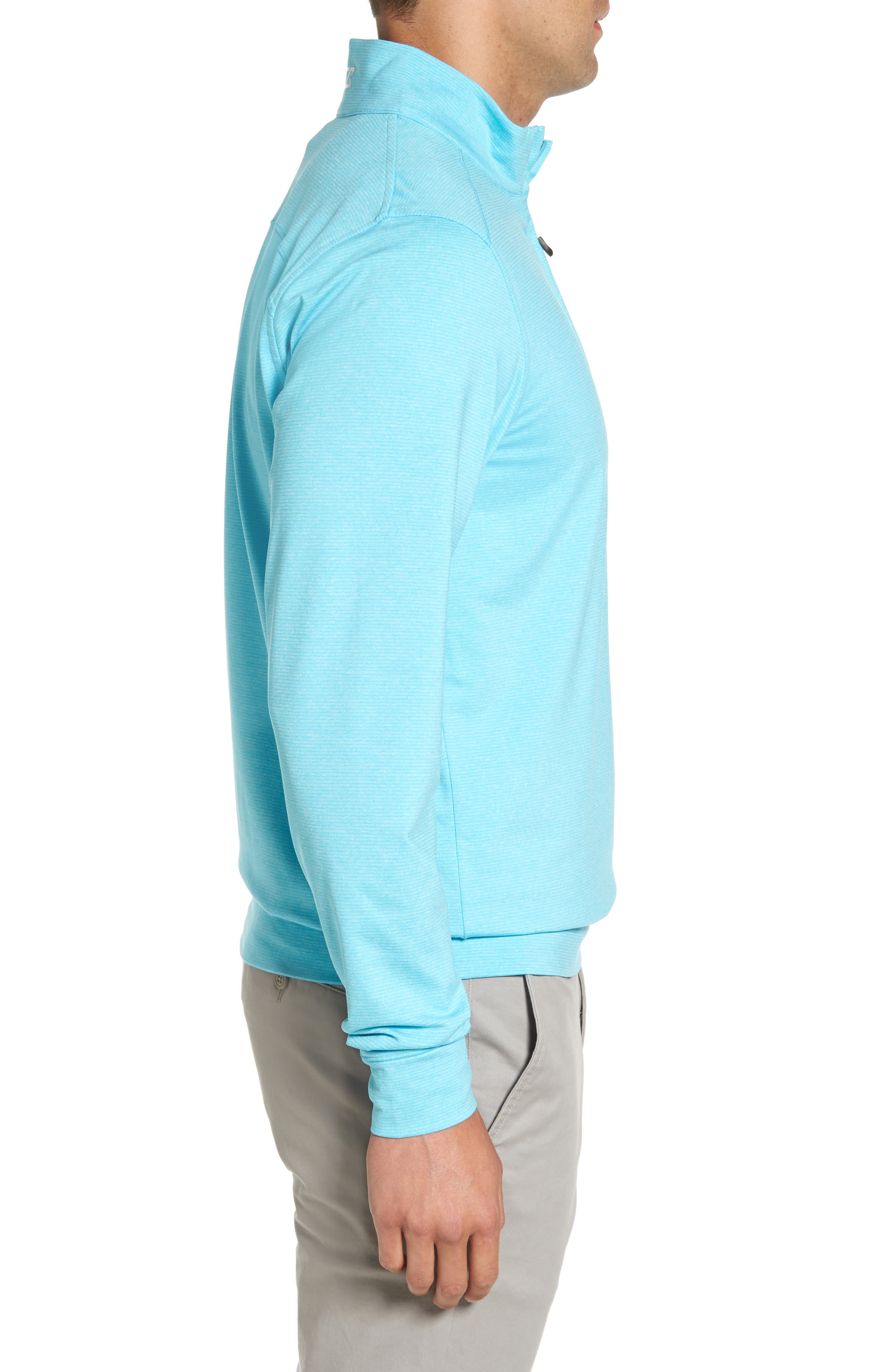 'Shoreline' Quarter Zip Pullover,                             Alternate thumbnail 3, color,                             ARUBA HEATHER