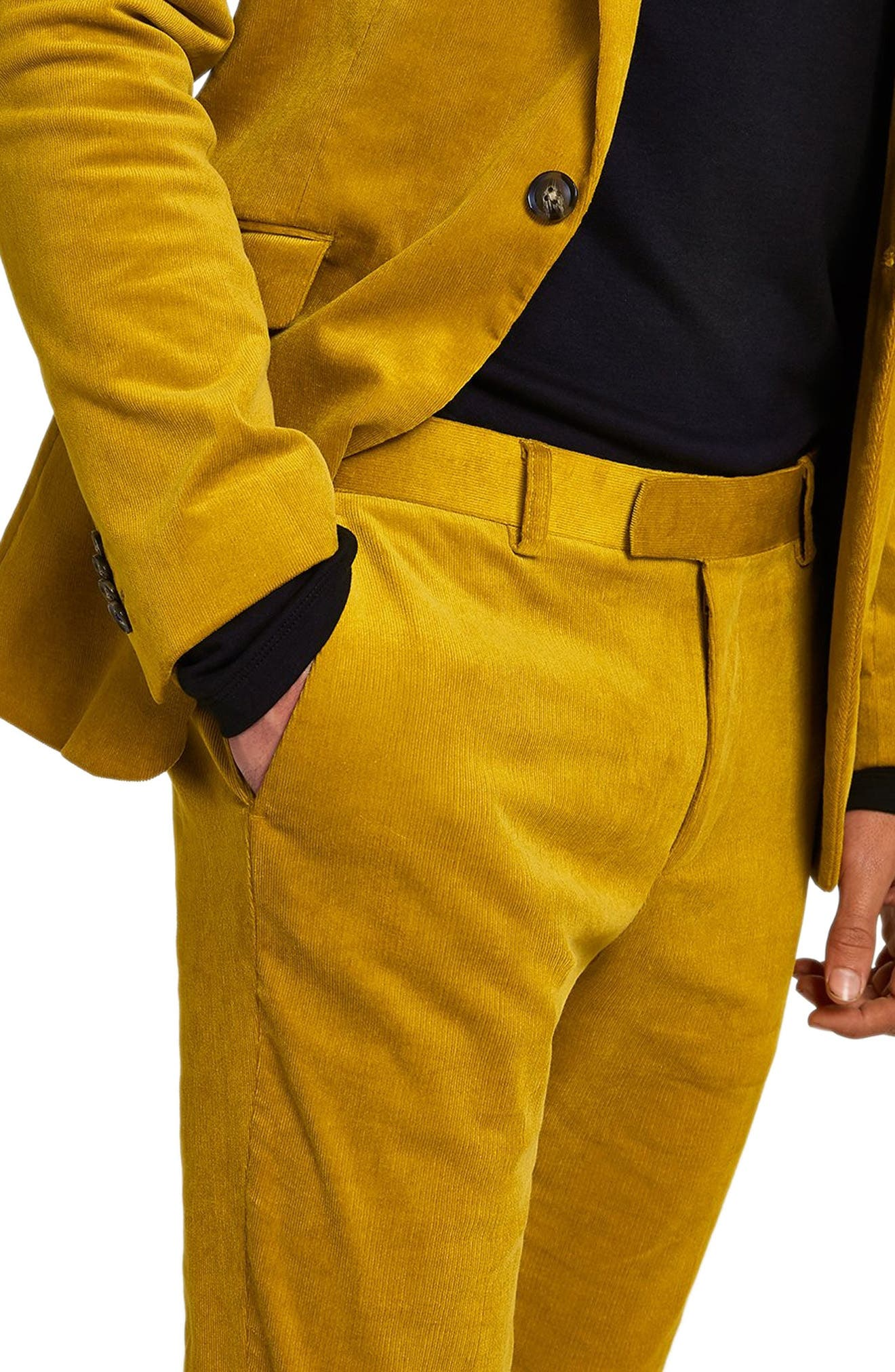 Super Skinny Fit Corduroy Trousers,                             Alternate thumbnail 3, color,                             YELLOW