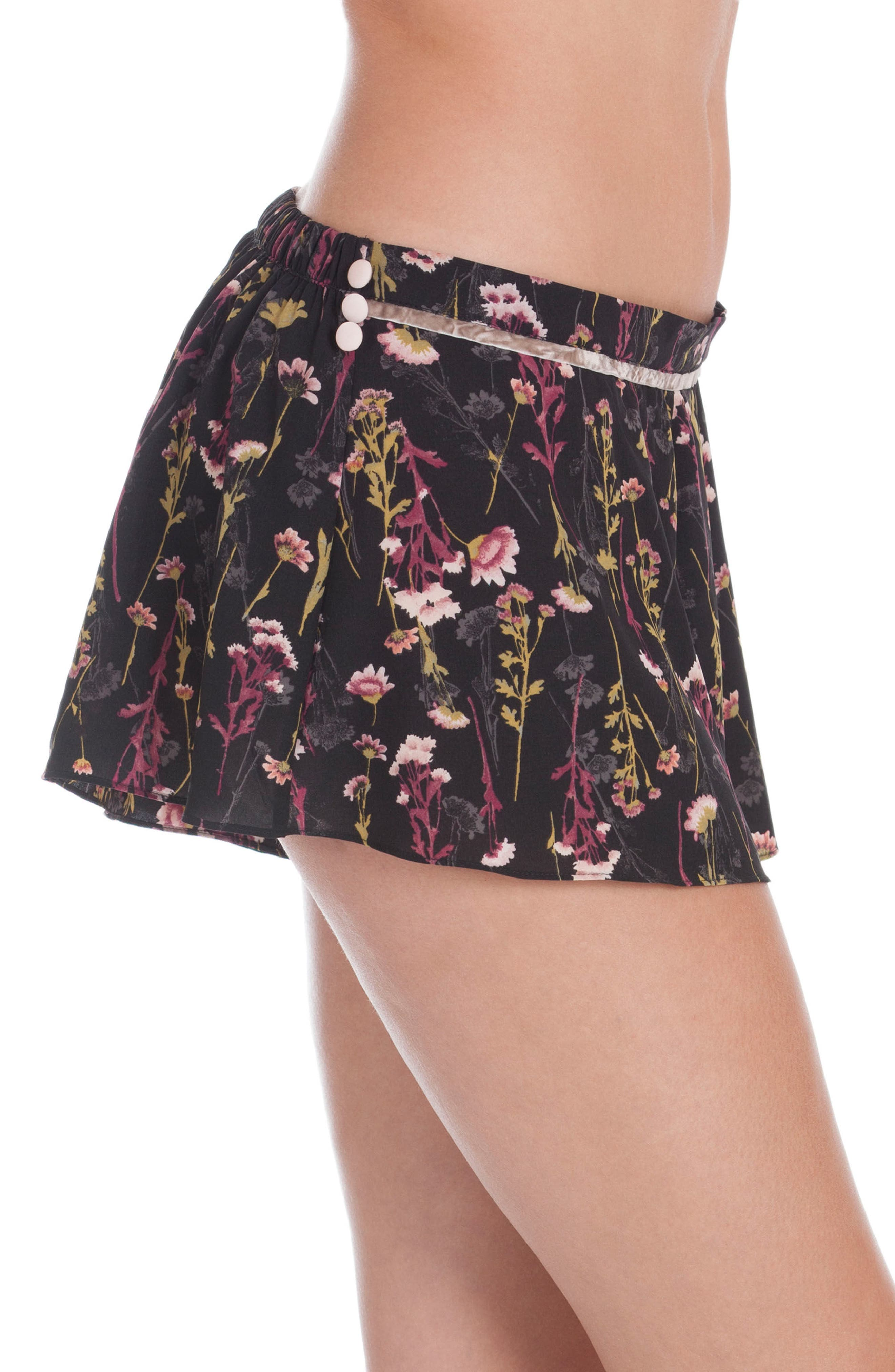 Floral Print Lounge Shorts,                             Alternate thumbnail 3, color,                             001