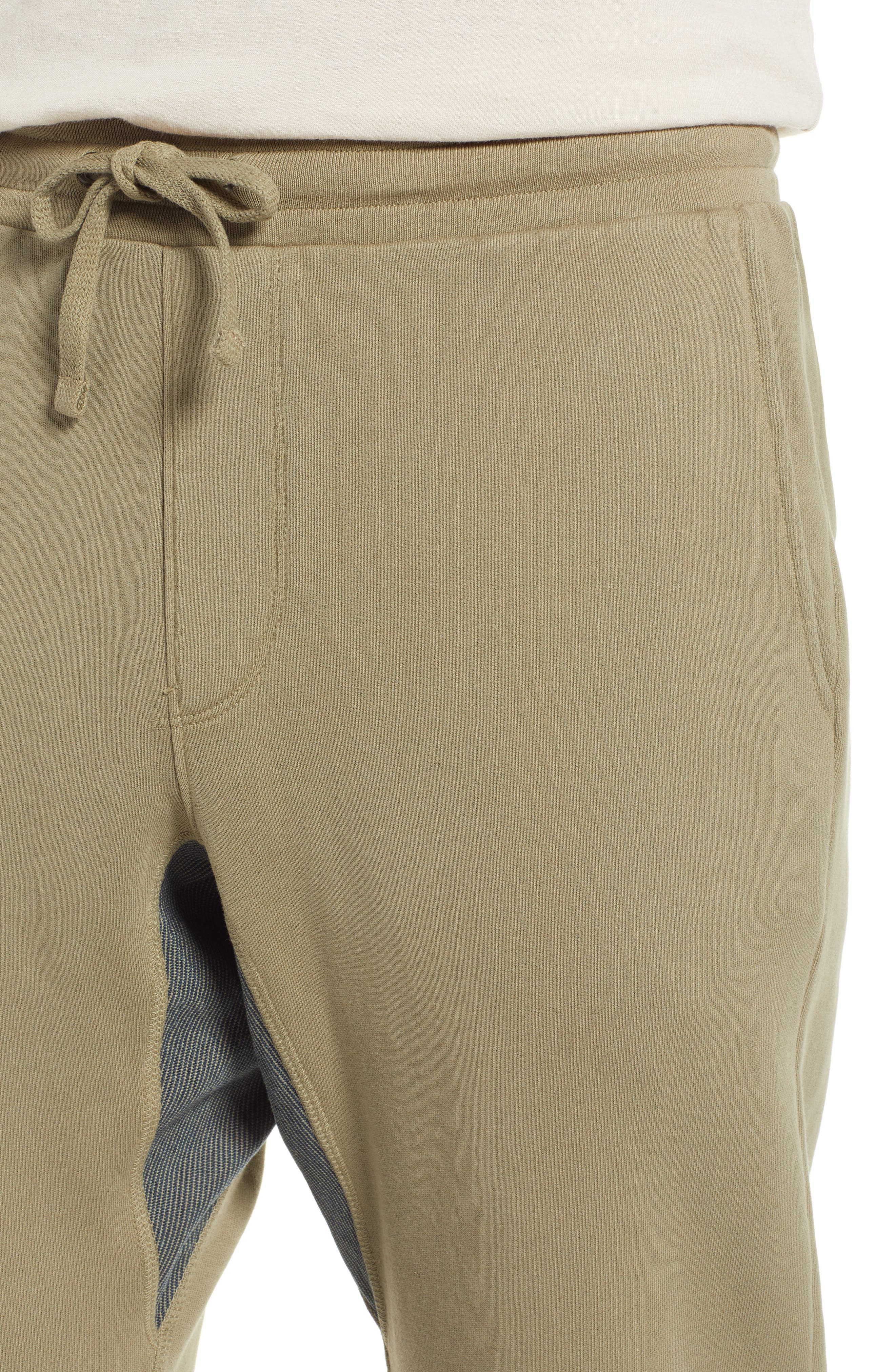 x 3x1 Drawstring Waist French Terry Sweatpants,                             Alternate thumbnail 4, color,                             LIGHT OLIVE